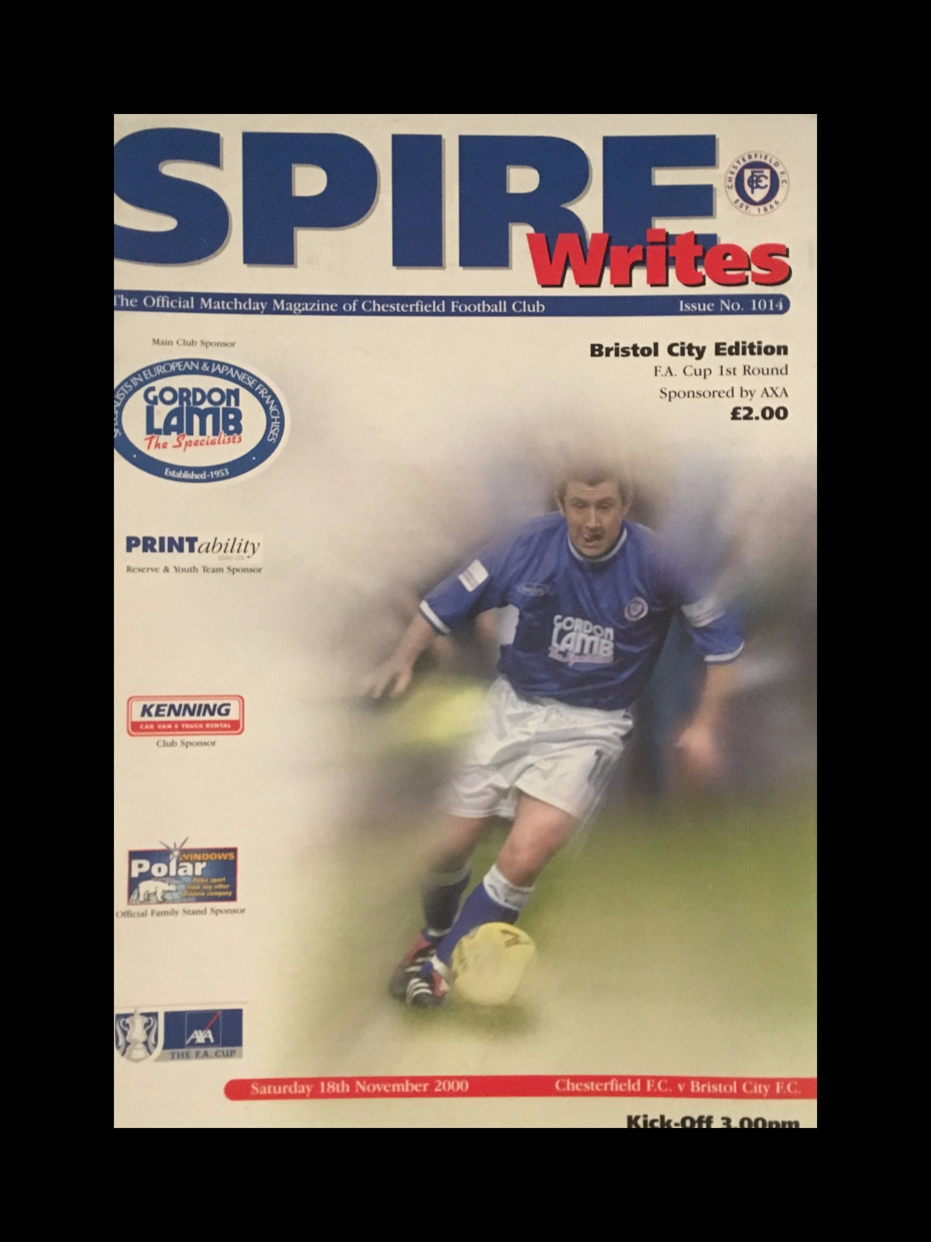 Chesterfield v Bristol City 18-11-2000 Programme