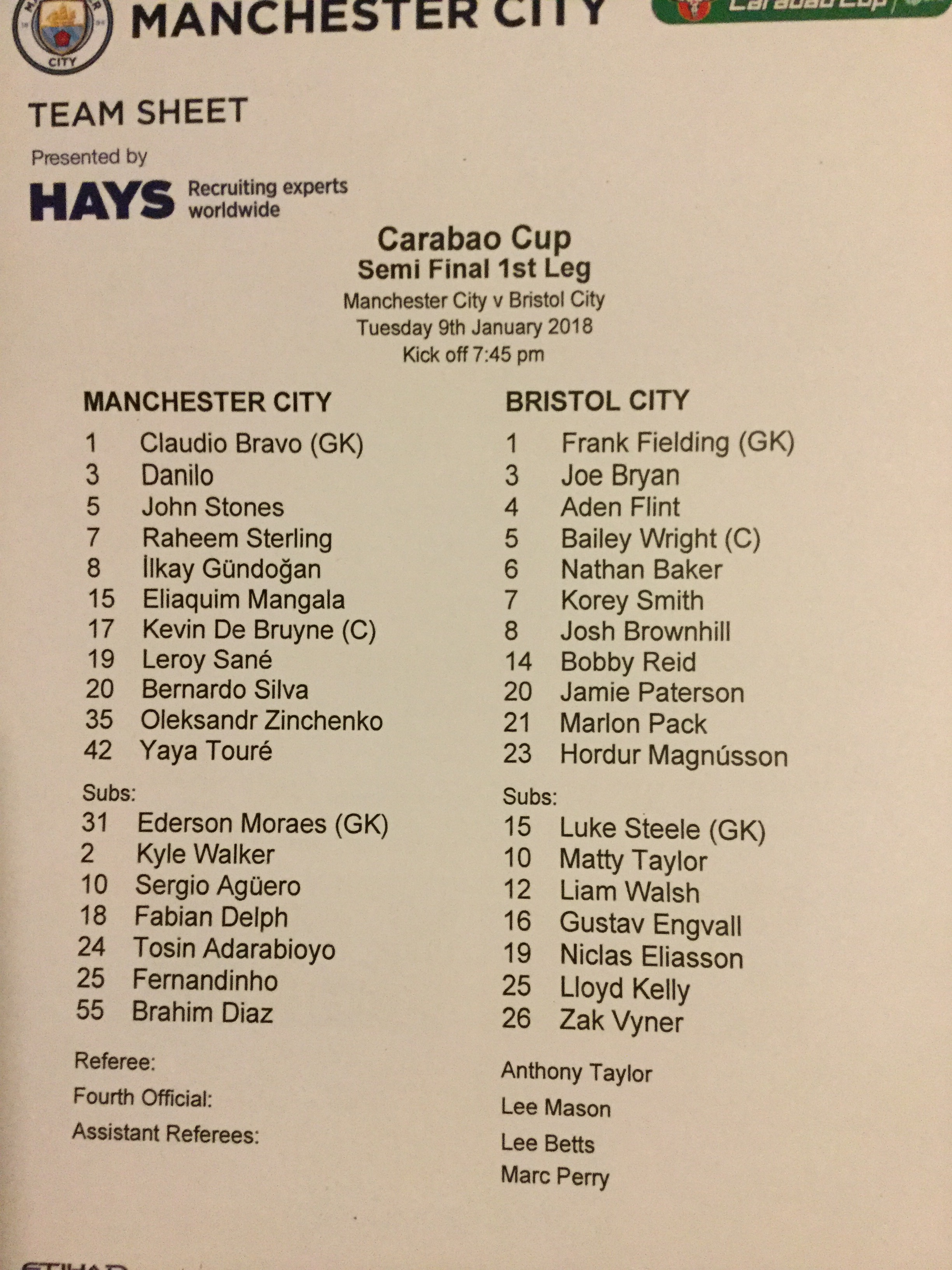 Manchester City v Bristol City 09-01-18 Team Sheet