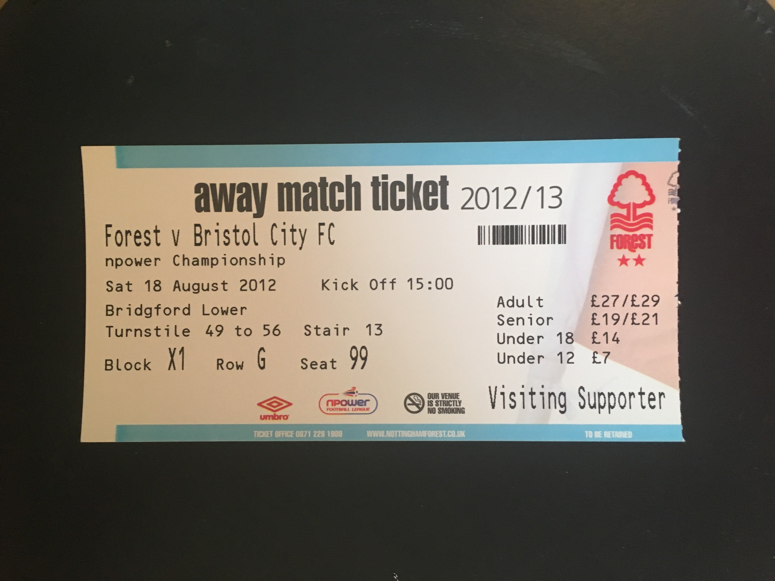 Nottingham Forest v Bristol City 18-08-12 Ticket