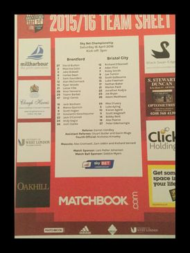 Brentford v Bristol City 16-04-2016 Team Sheet