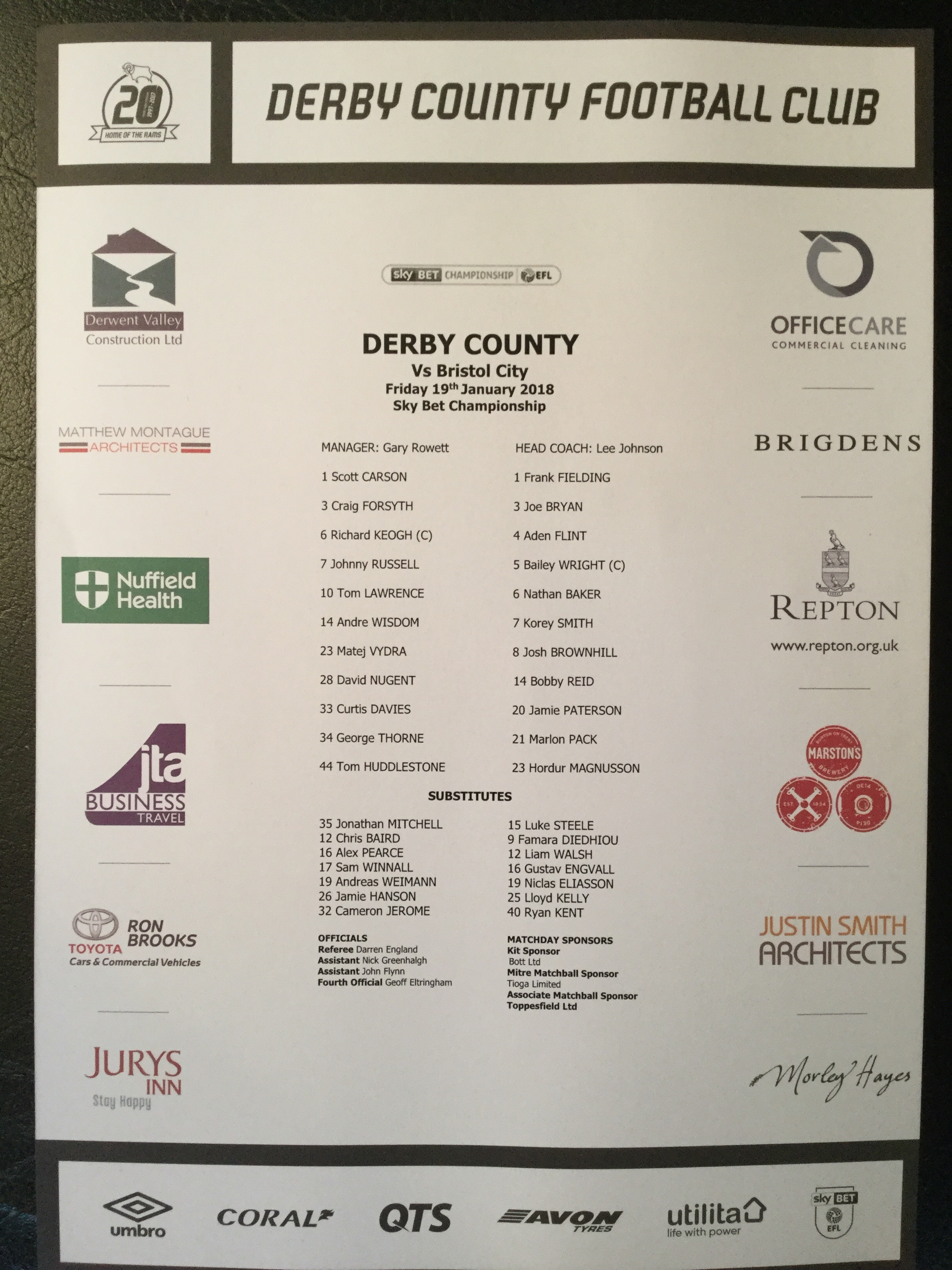 Derby County v Bristol City 19-01-18 Team Sheet