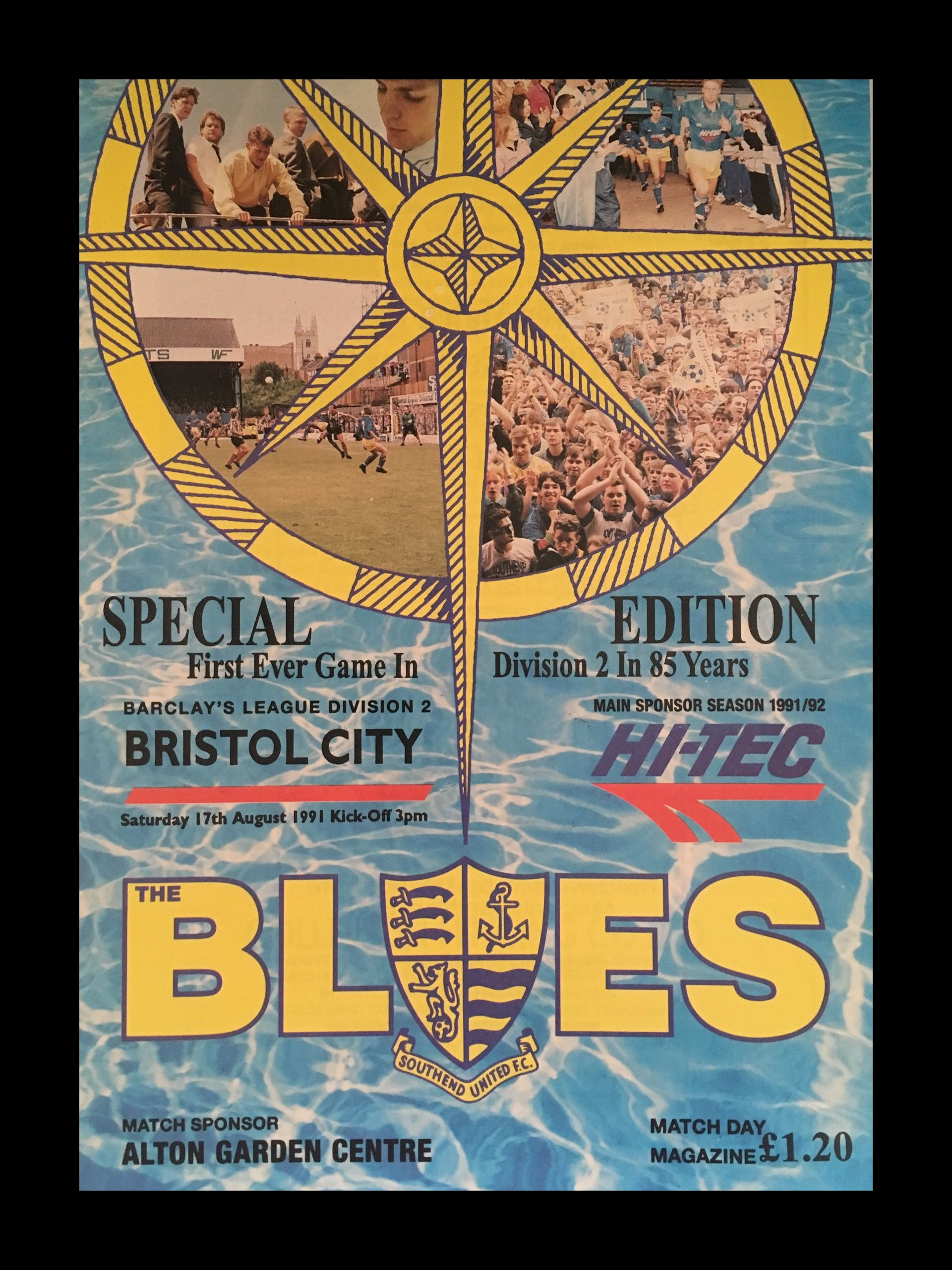 Southend United v Bristol City 17-08-1991 Programme
