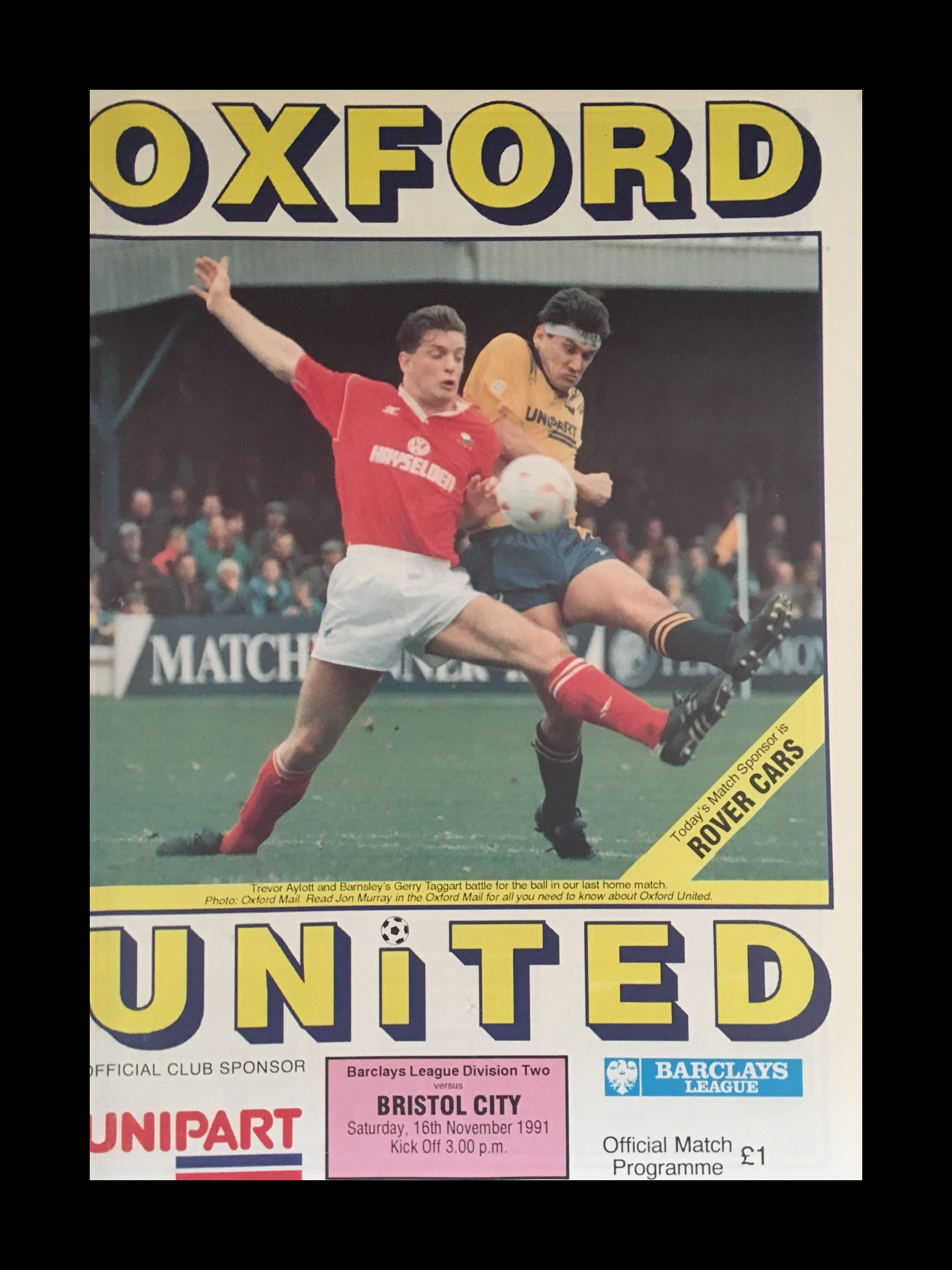 Oxford United v Bristol City 16-11-1991 Programme