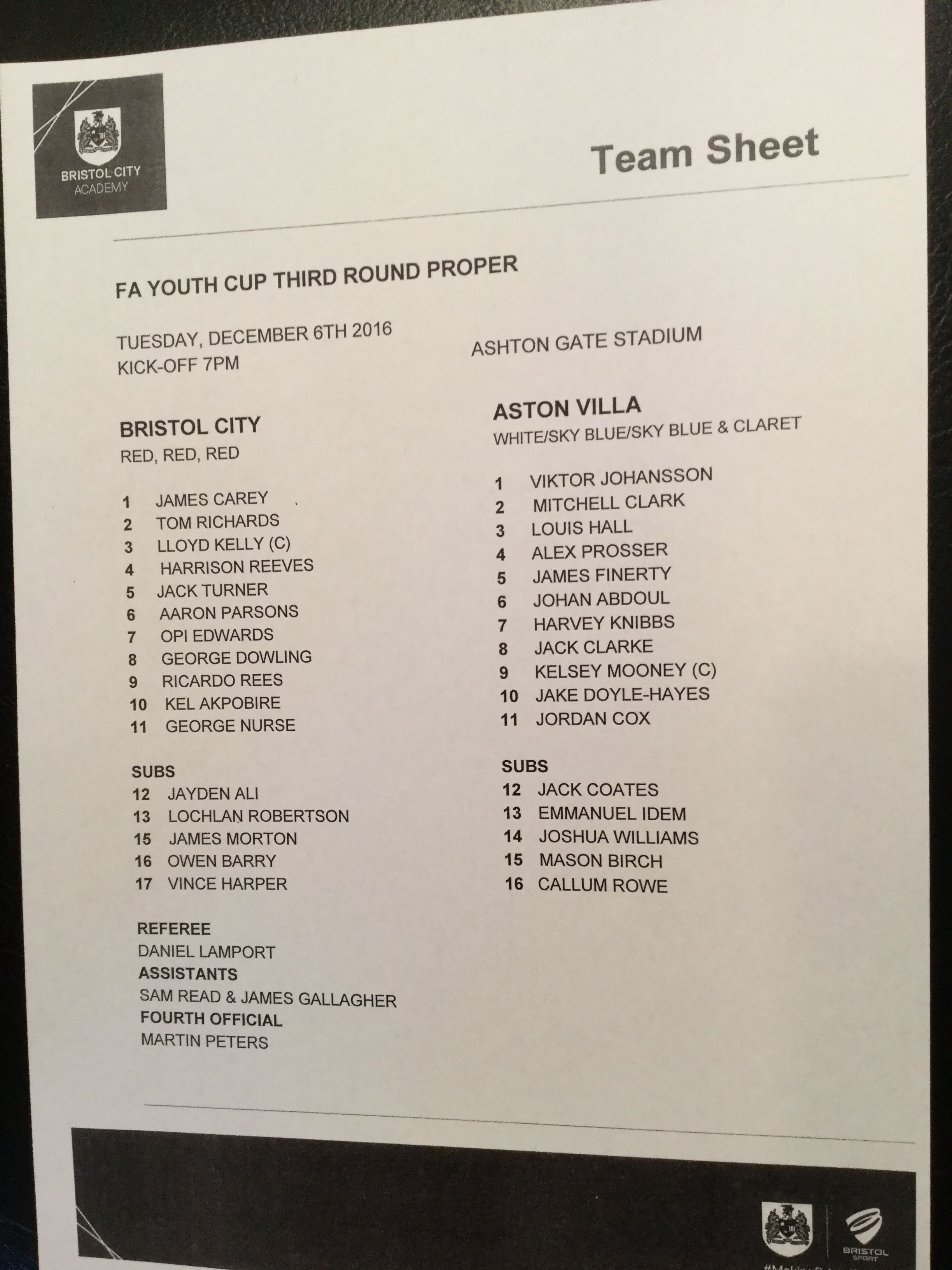 Bristol City v Aston Villa 06-12-16 Team Sheet