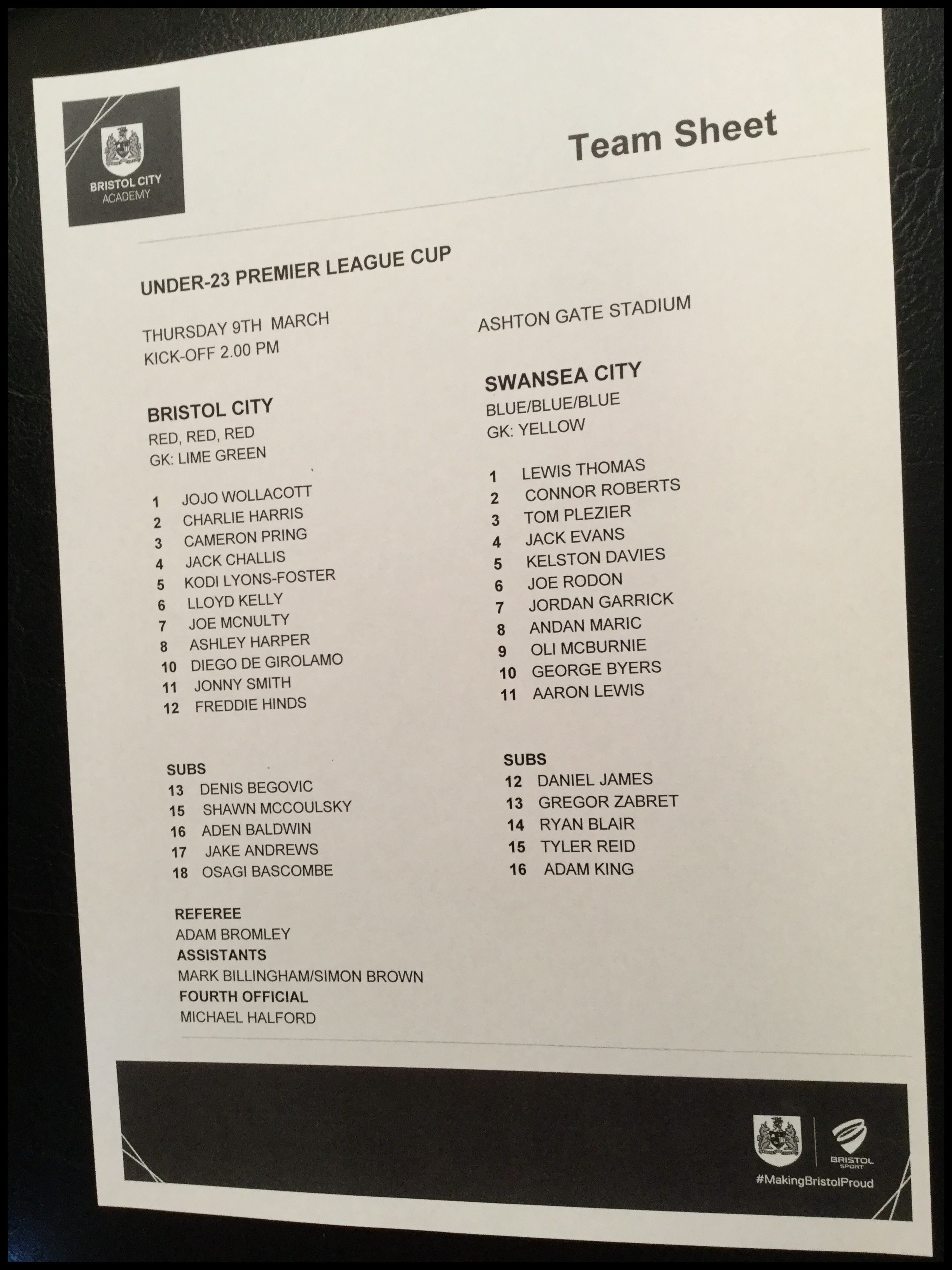Bristol City v Swansea City 09-03-17 Team Sheet