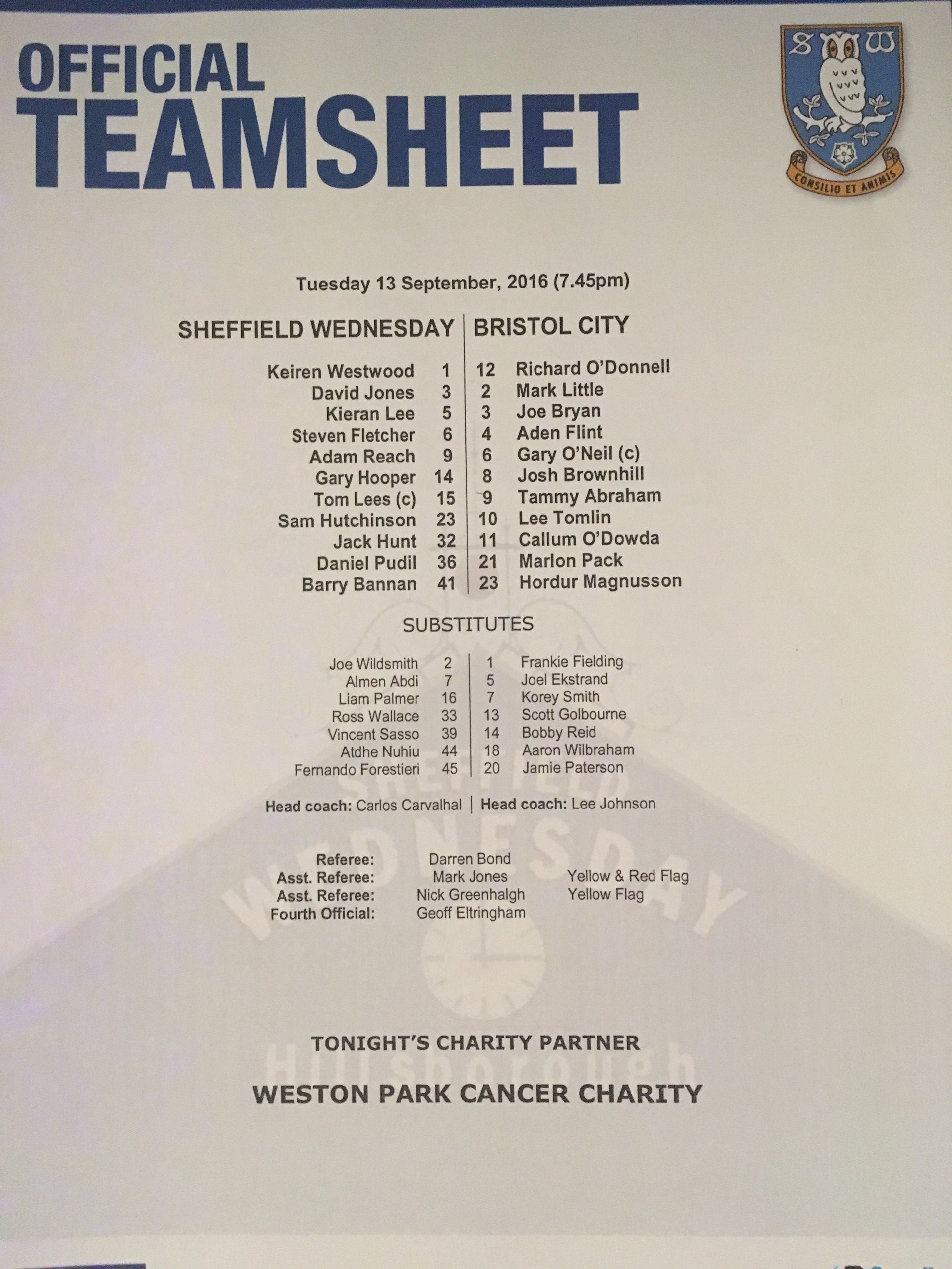 Sheffield Wednesday v Bristol City 13-09-2016 Team Sheet