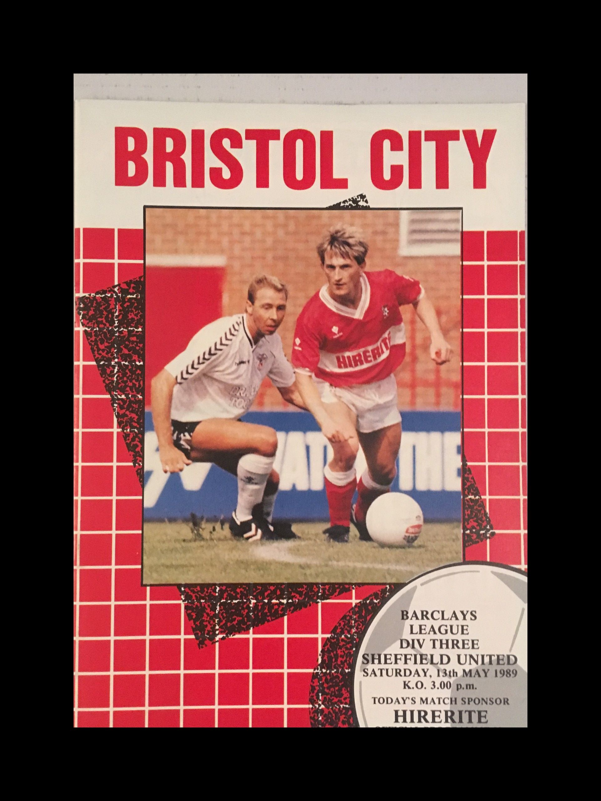 Bristol City v Sheffield United 13-05-1989 Programme