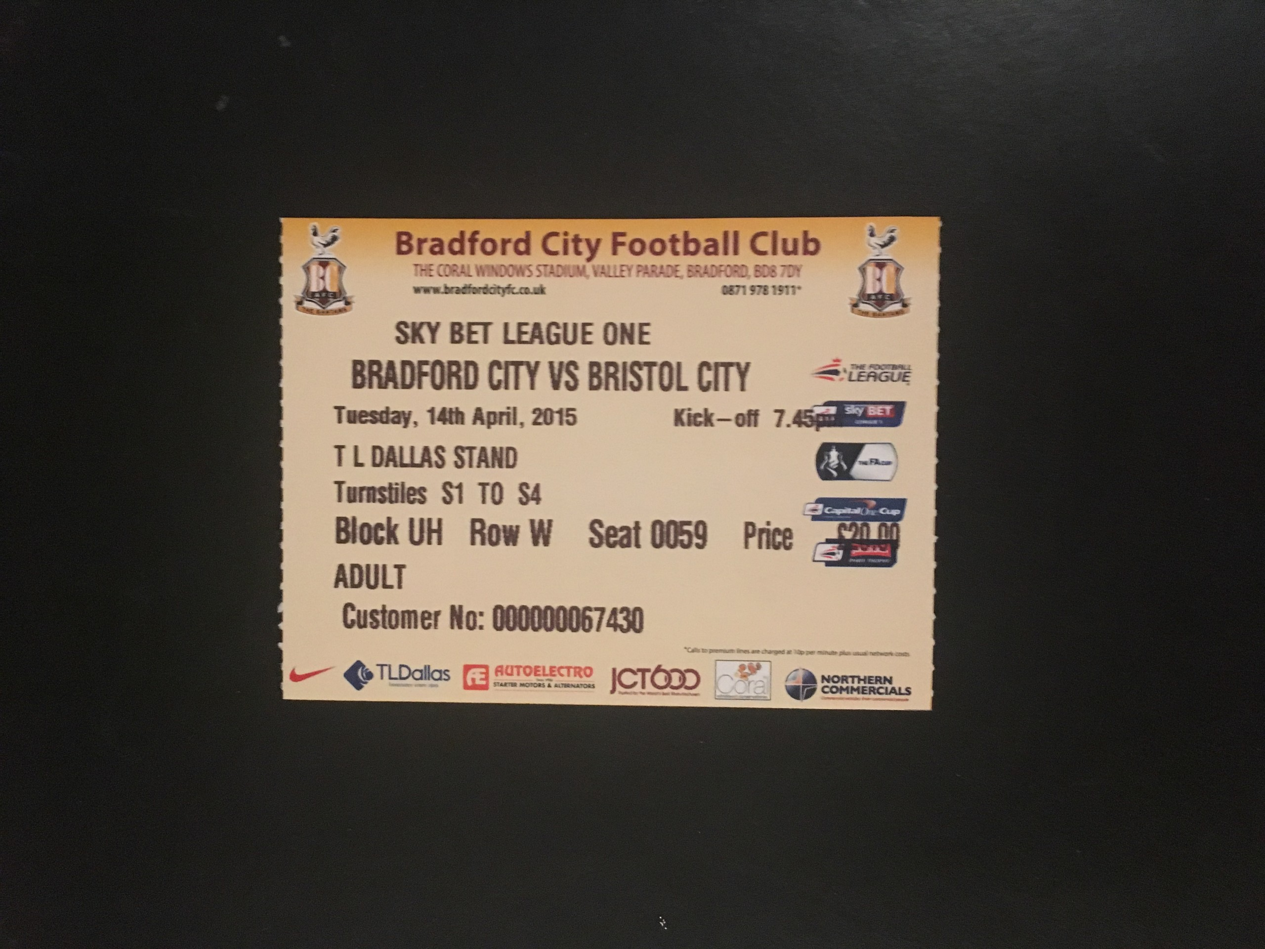 Bradford City v Bristol City 14-04-2015 Ticket