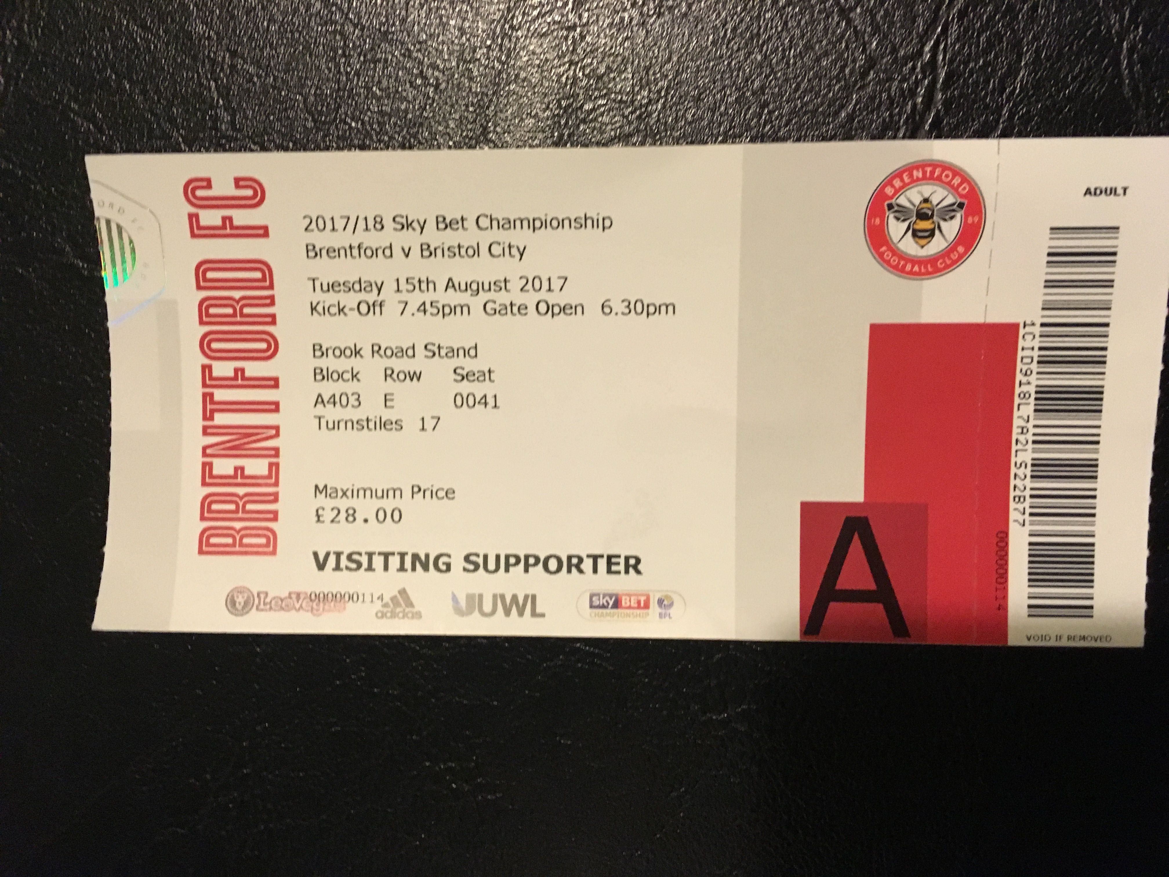 Brentford v Bristol City 15-08-17 Ticket