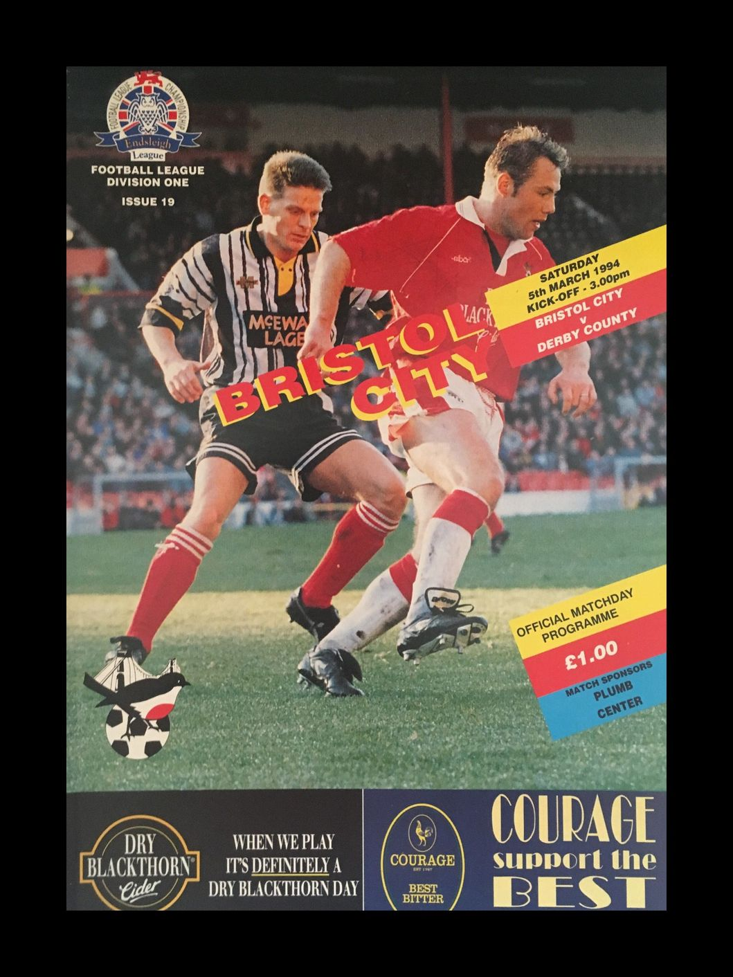 Bristol City v Derby County 05-03-1994 Programme