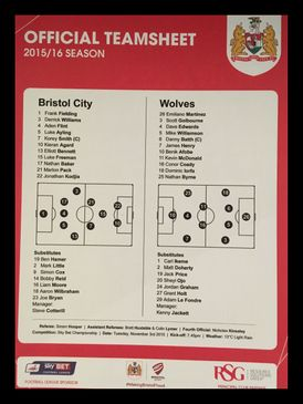 Bristol City v Wolves 03-11-2015 Team Sheet