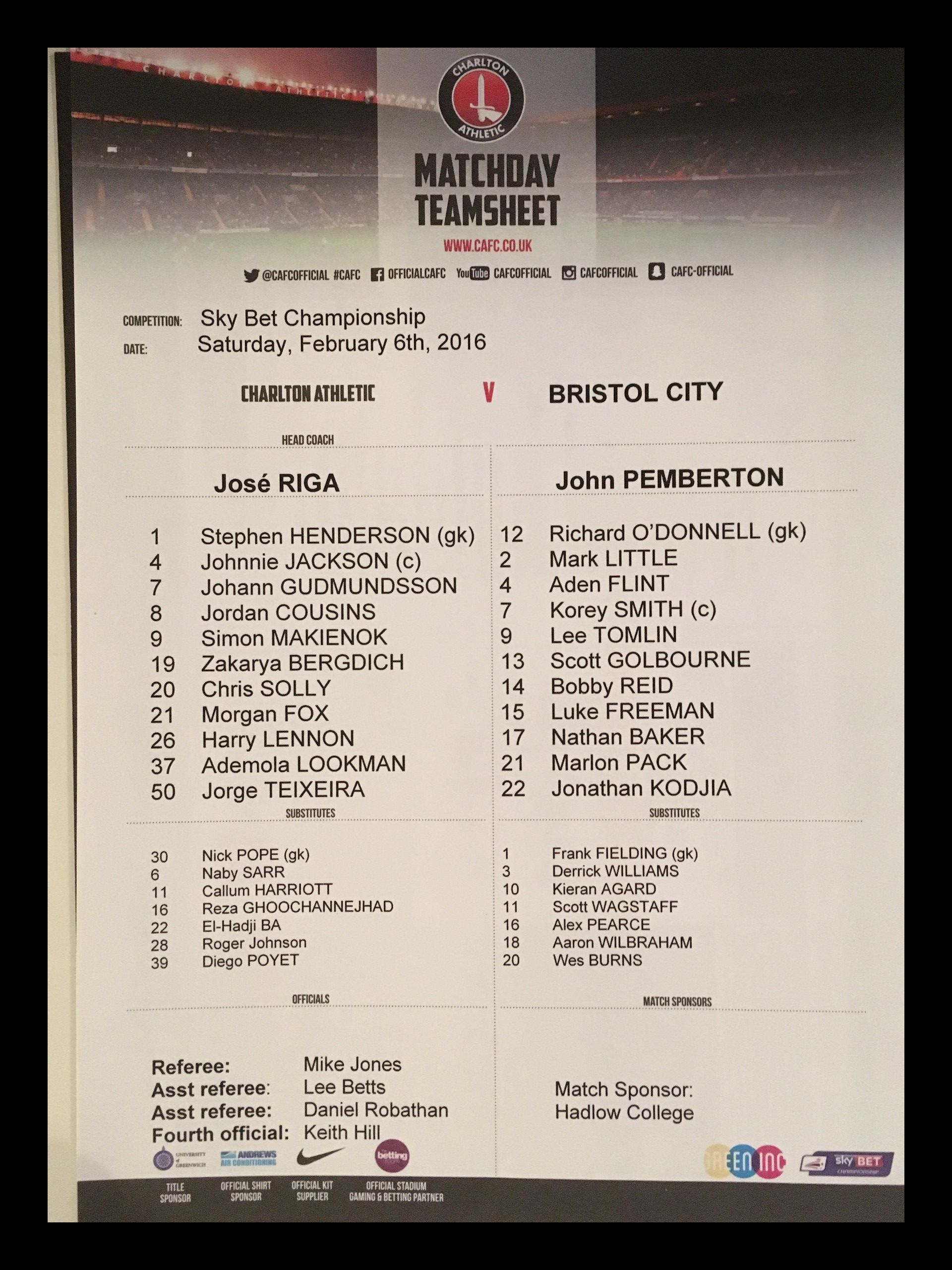 Charlton Athletic v Bristol City 06-02-2016 Team Sheet