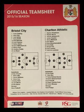 Bristol City v Charlton Athletic 26-12-2015 Team Sheet