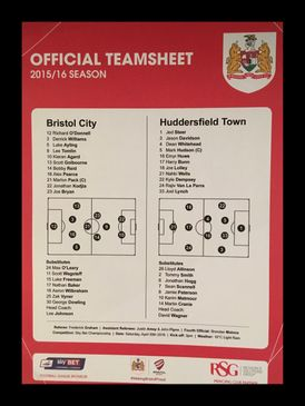 Bristol City v Huddersfield Town 30-04-2016 Team Sheet