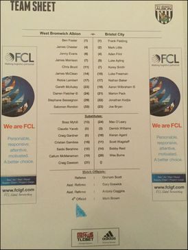 West Bromwich Albion v Bristol City 09-01-2016 Team Sheet