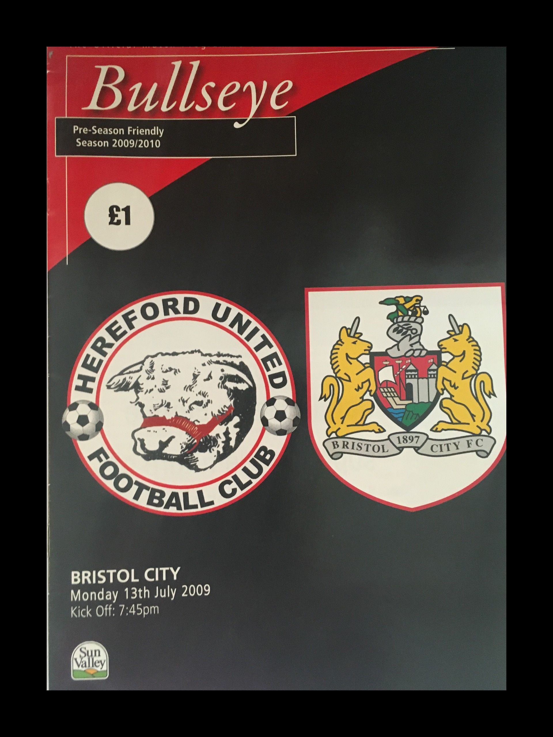 Hereford United v Bristol City 13-07-2009 Programme