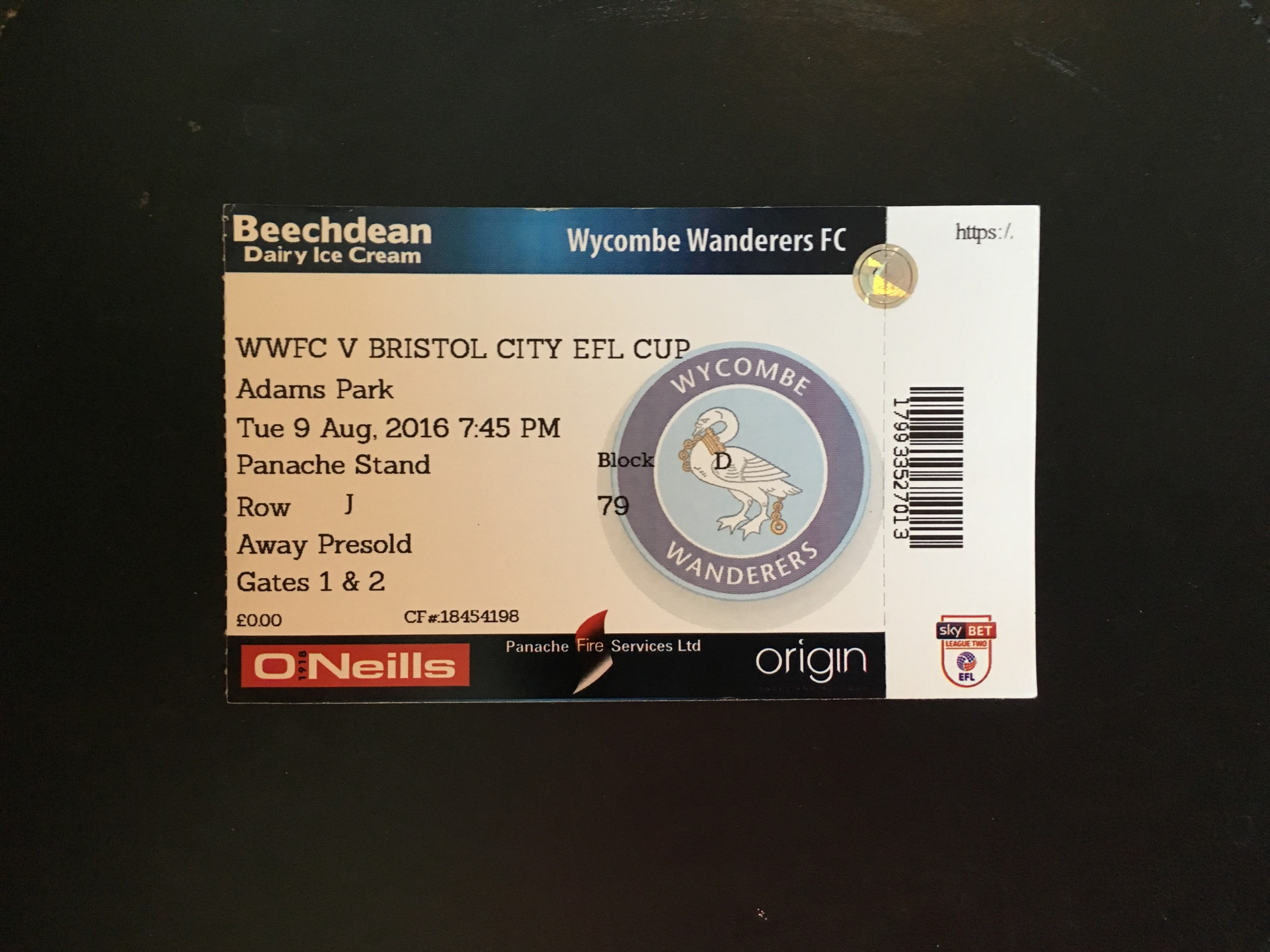 Wycombe Wanderers v Bristol City 09-08-2016 Ticket