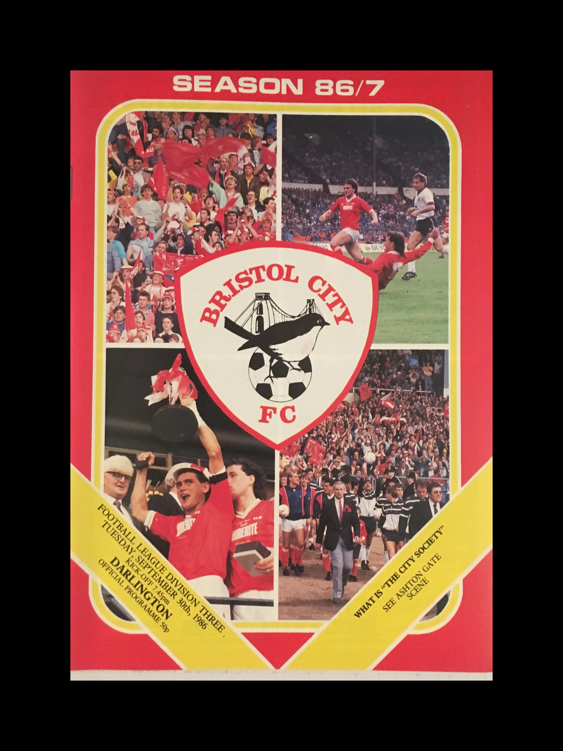 Bristol City v Darlington 30-09-86 Programme