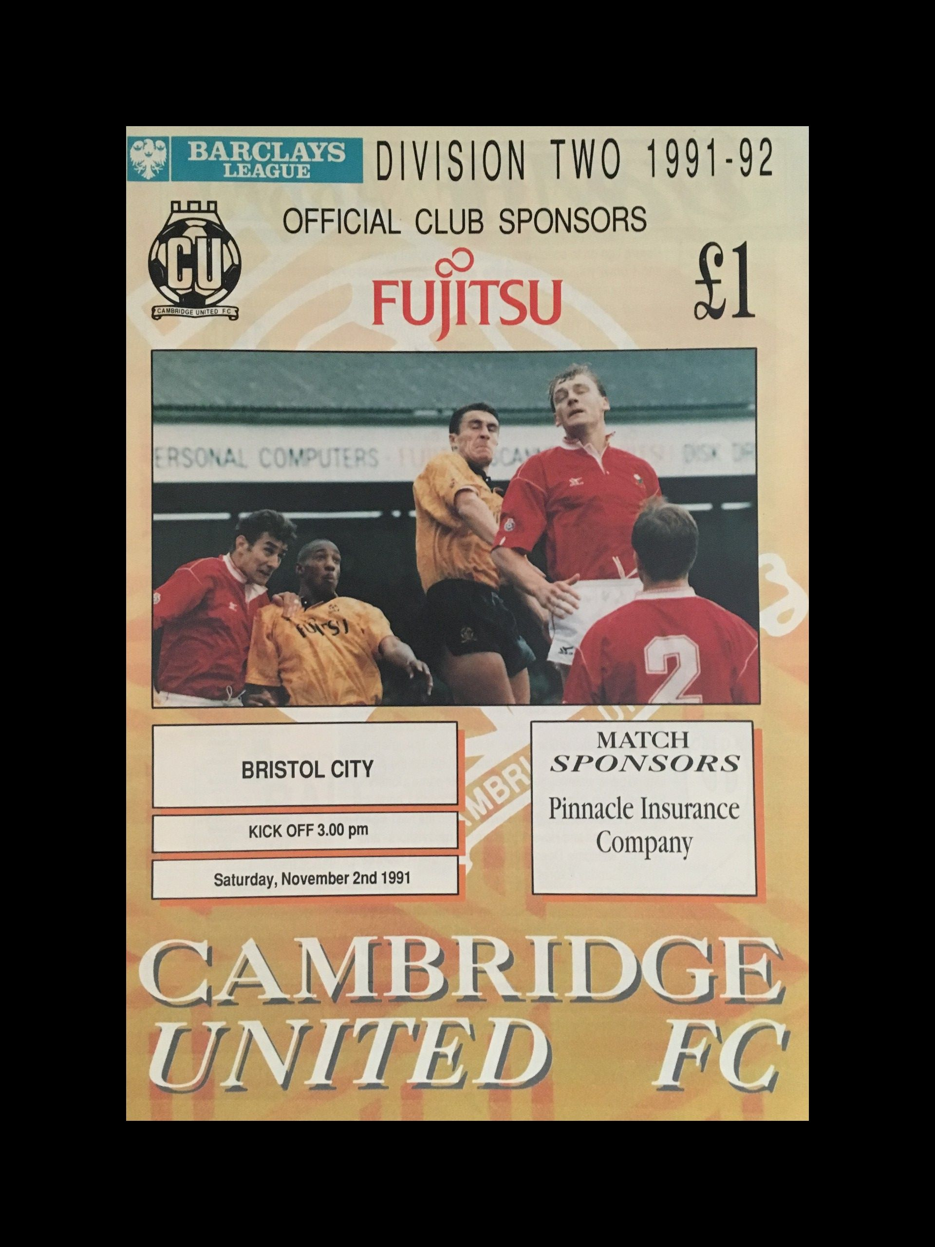 Cambridge United v Bristol City 02-11-1991 Programme