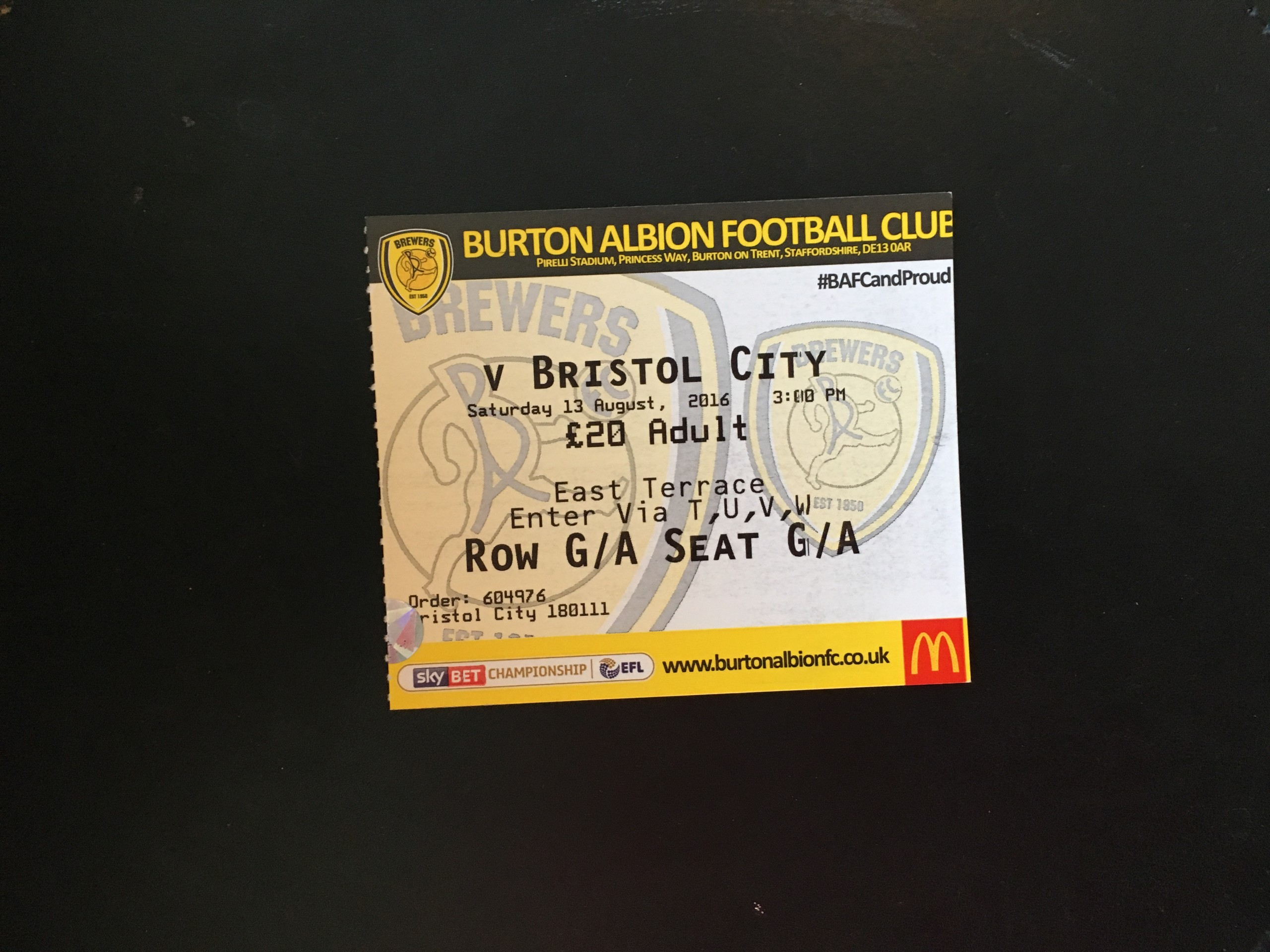 Burton Albion v Bristol City 13-08-2016 Ticket