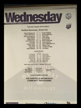 Sheffield Wednesday v Bristol City 08-08-2015 Team Sheet