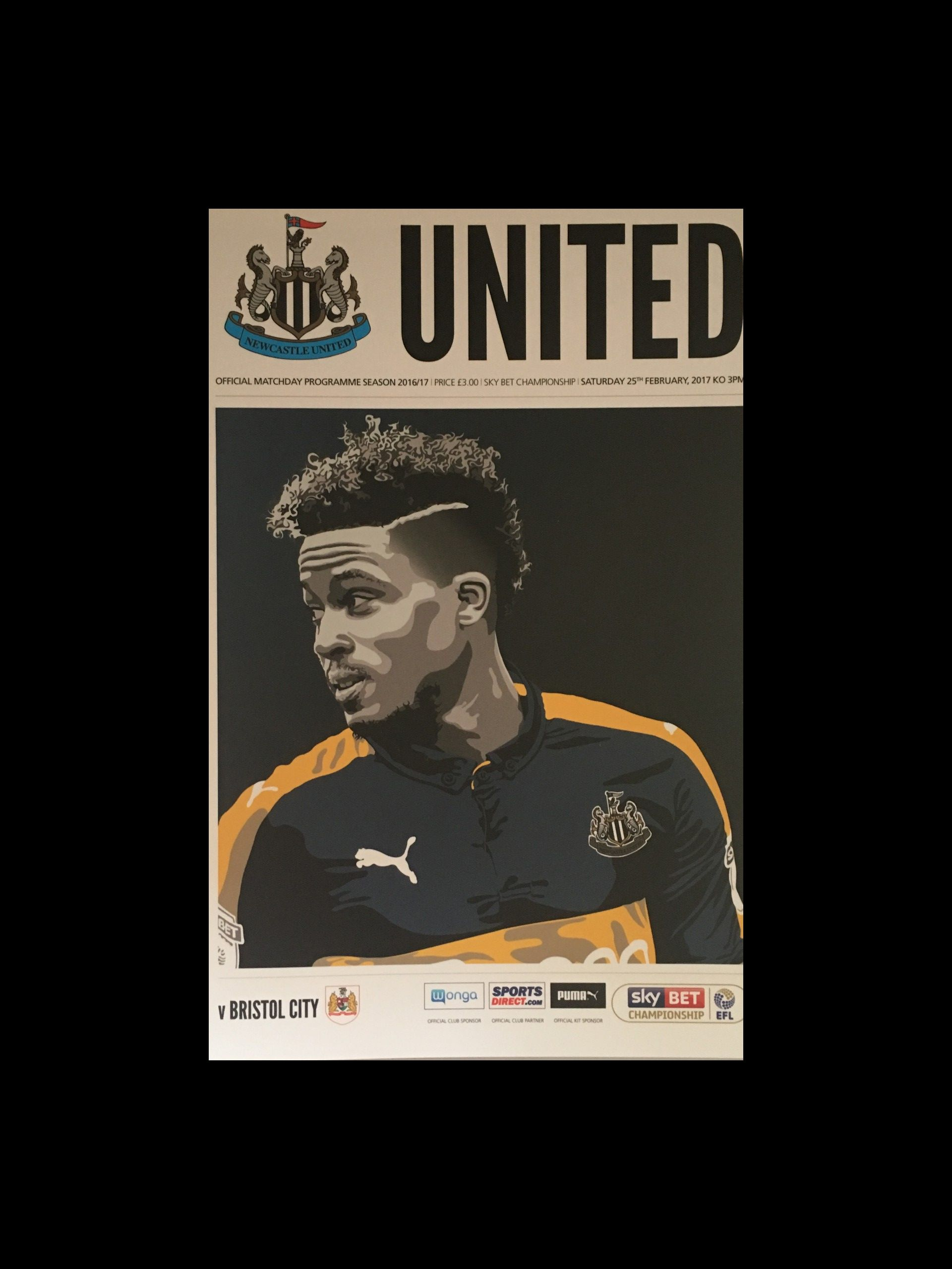 Newcastle United v Bristol City 25-02-17 Programme