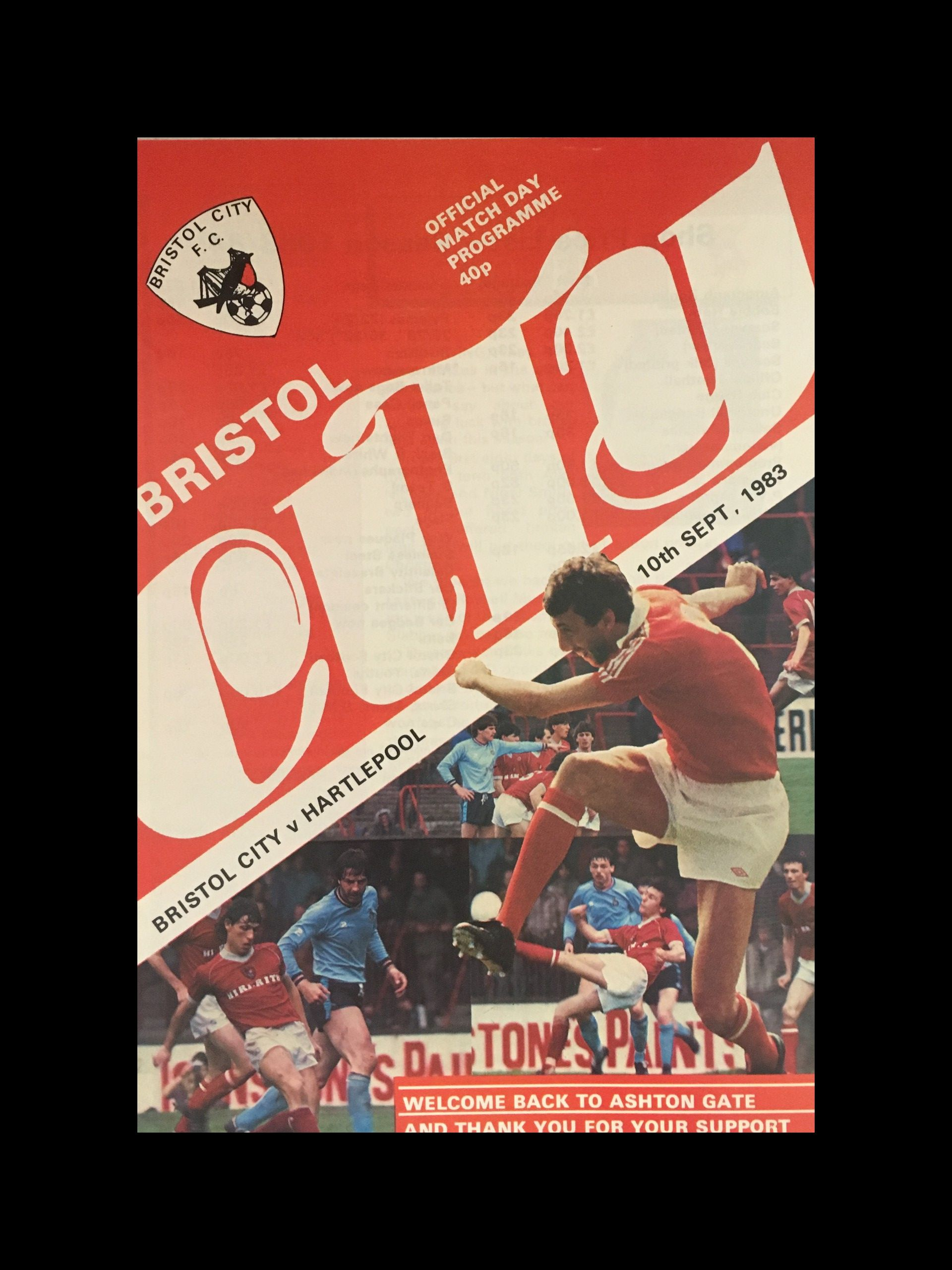Bristol City v Hartlepool United 10-09-83 Programme