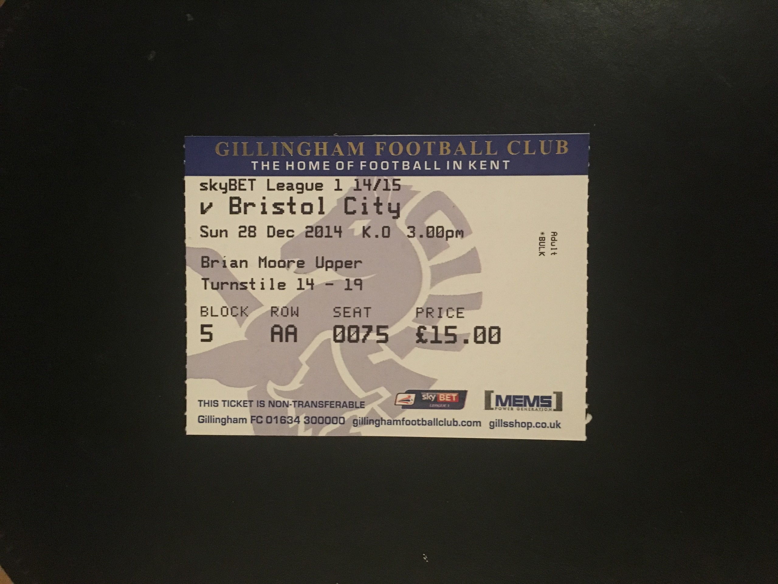 Gillingham v Bristol City 28-12-2014 Ticket