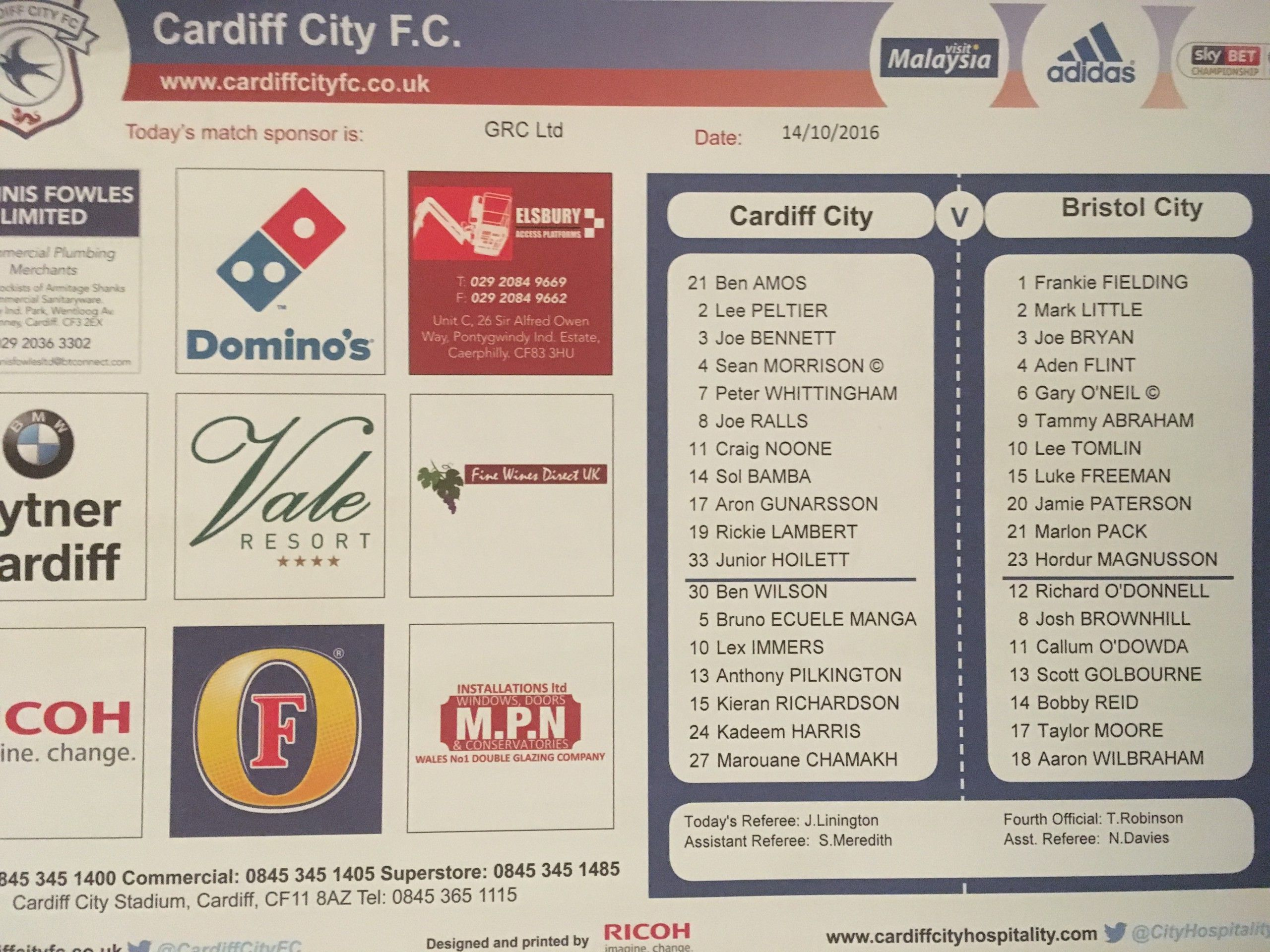 Cardiff City v Bristol City 14-10-2016 Team Sheet