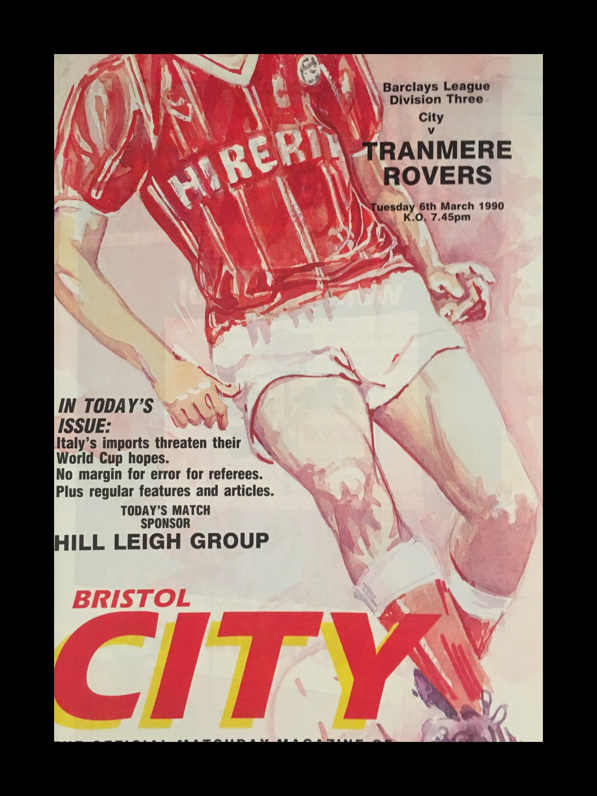Bristol City v Tranmere Rovers 06-03-1990 Programme