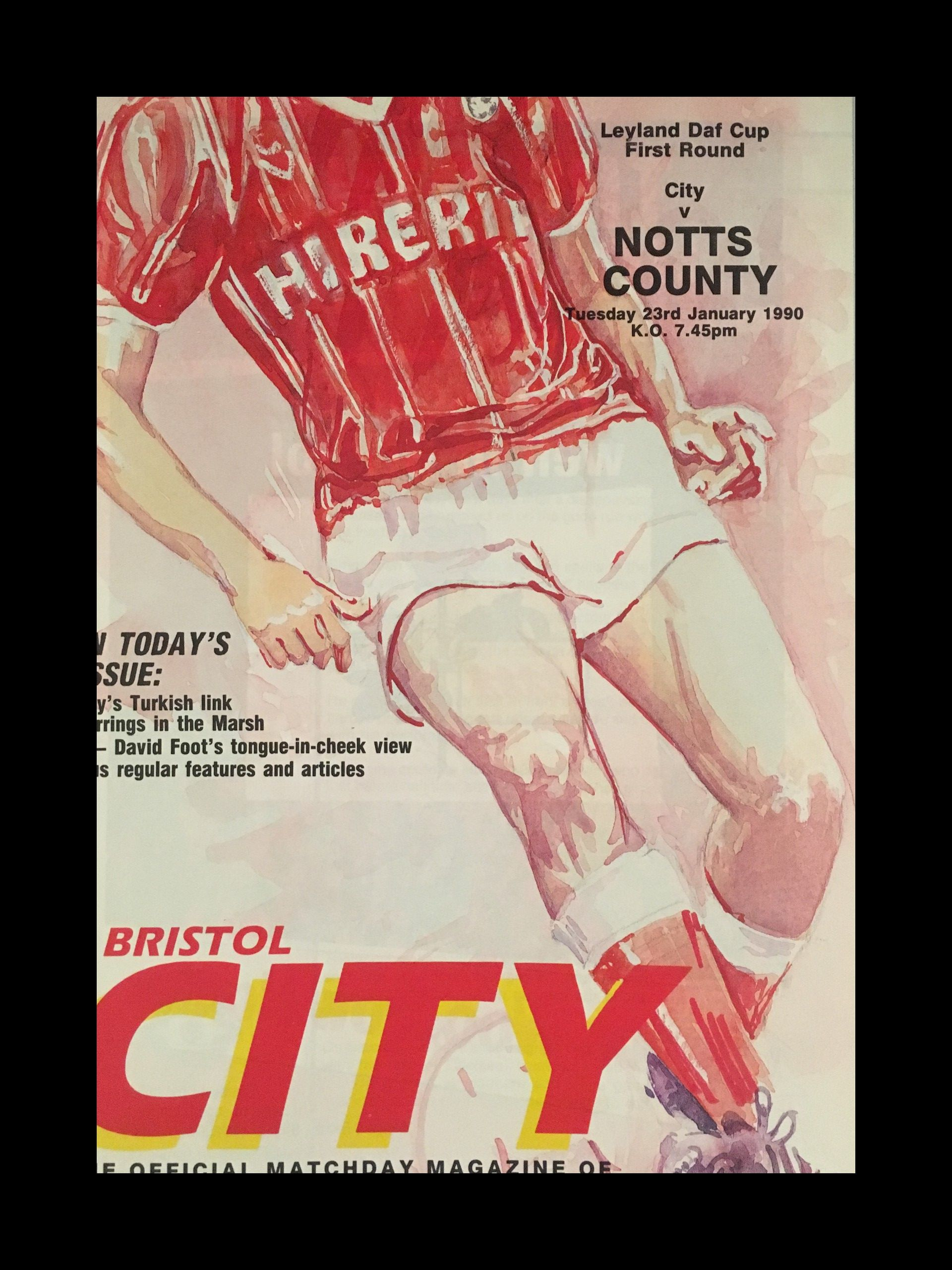Bristol City v Notts County 23-01-1990 Programme
