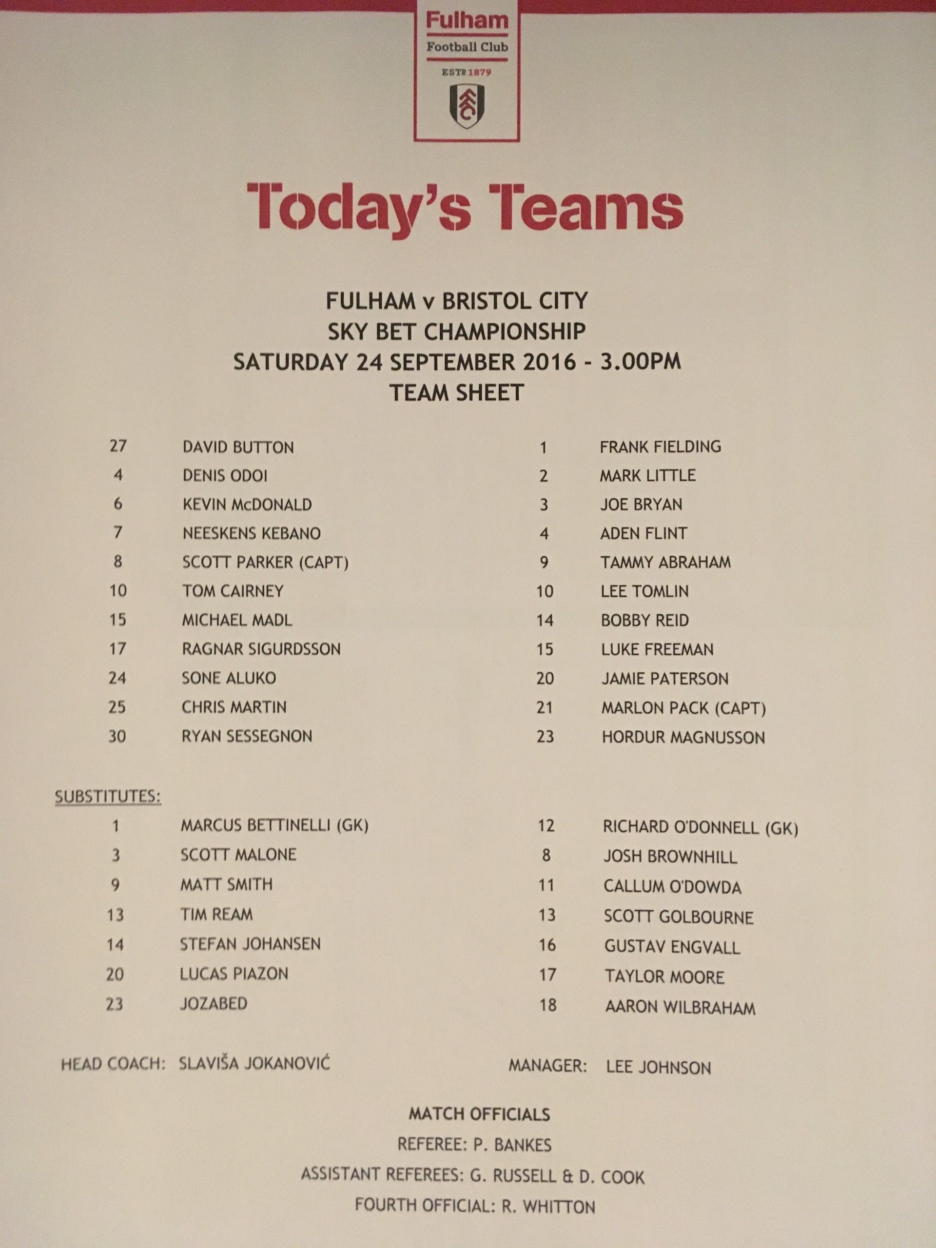 Fulham v Bristol City 24-09-2016 Team Sheet