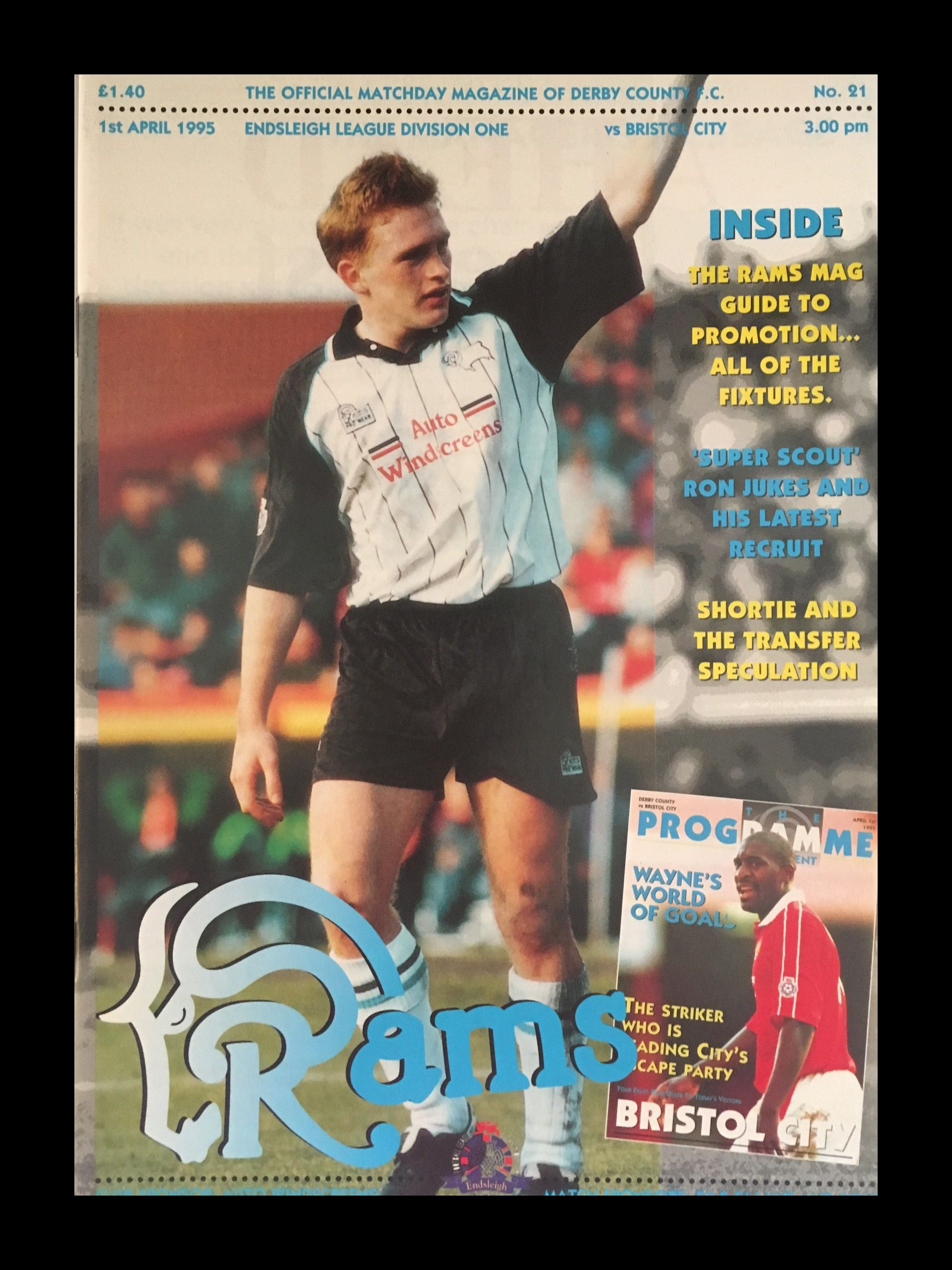 Derby County v Bristol City 01-04-1995 Programme