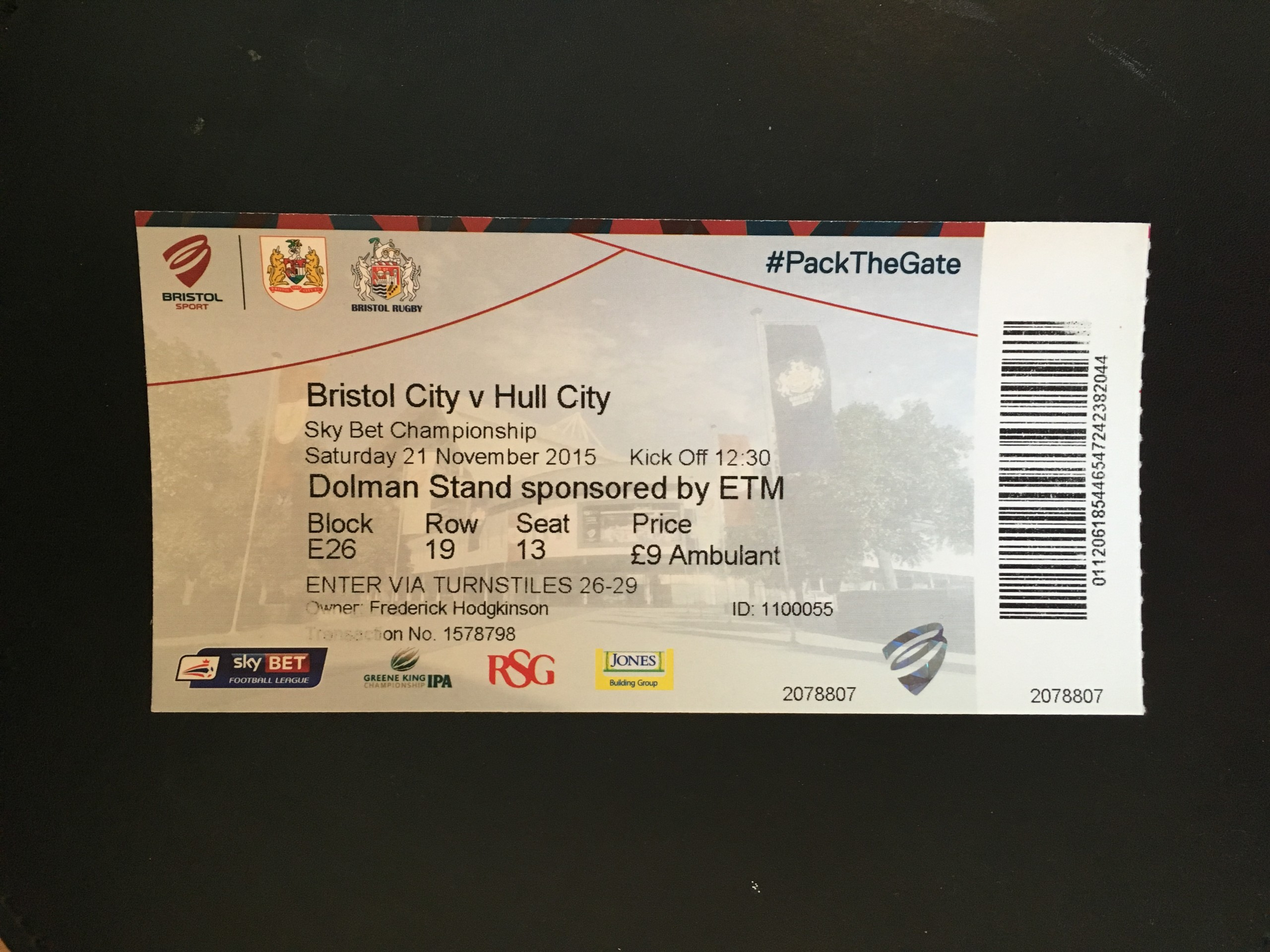 Bristol City v Hull City 21-11-2015 Ticket