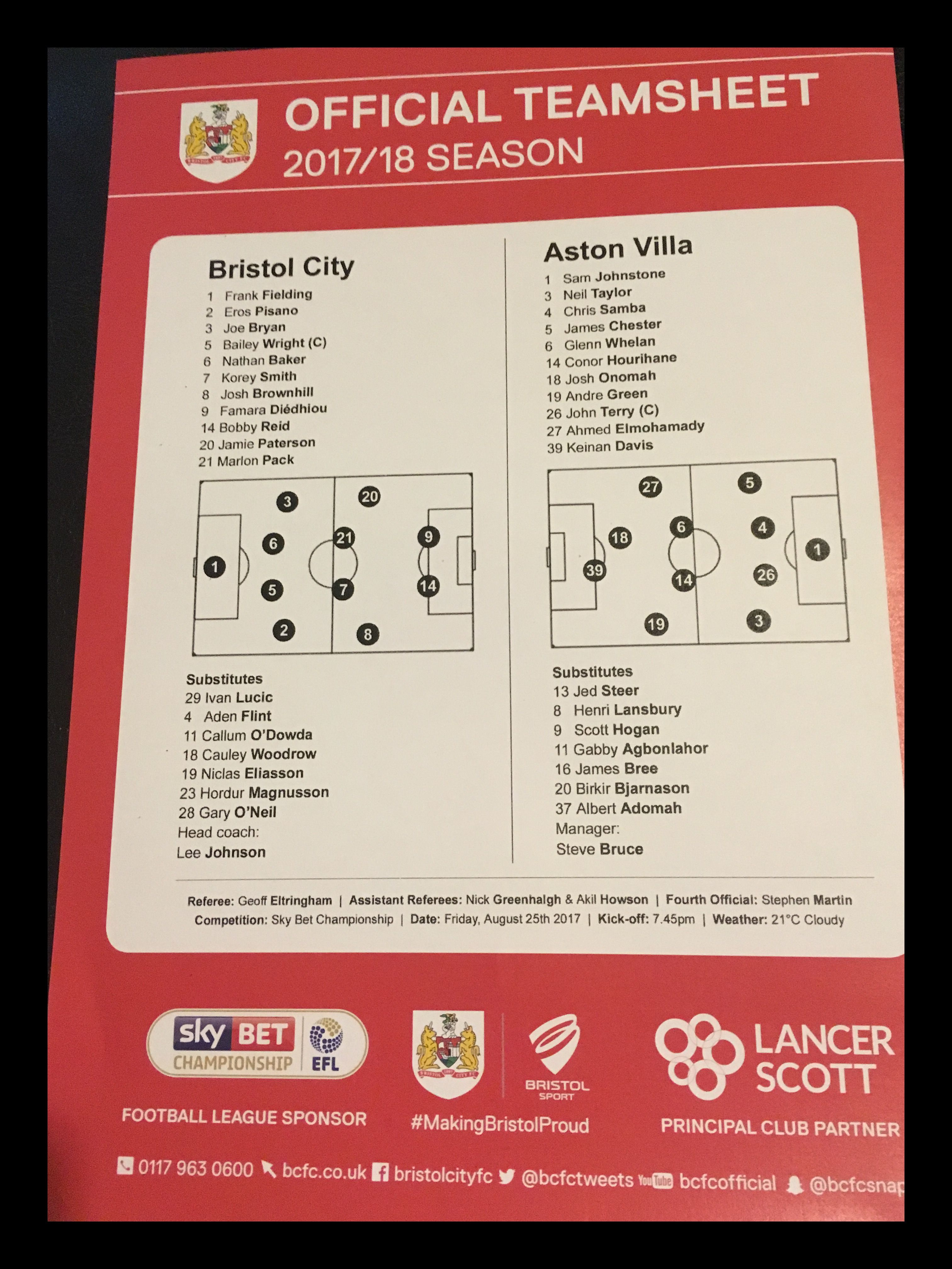 Bristol City v Aston Villa 25-08-17 Team Sheet