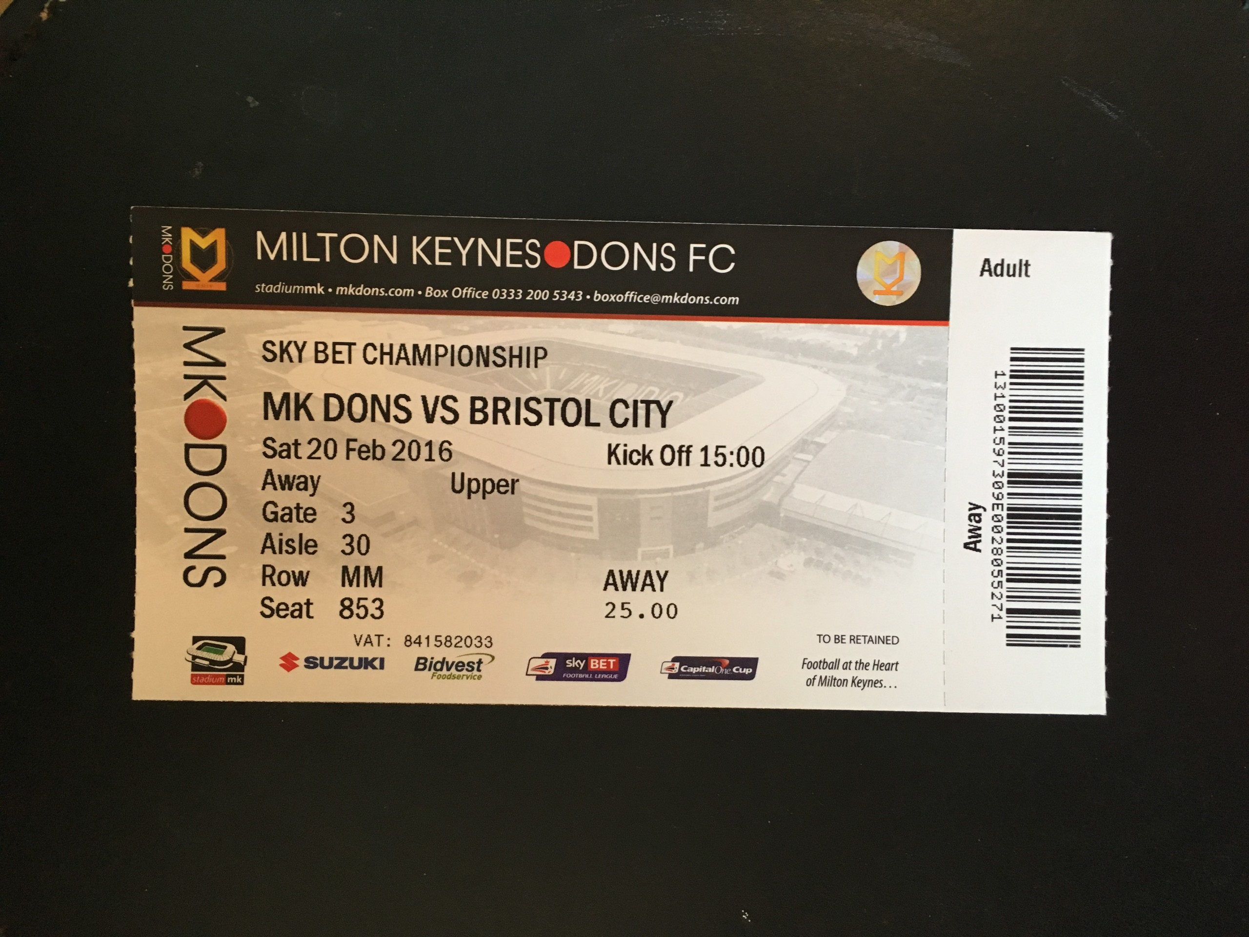MK Dons v Bristol City 20-02-2016 Ticket