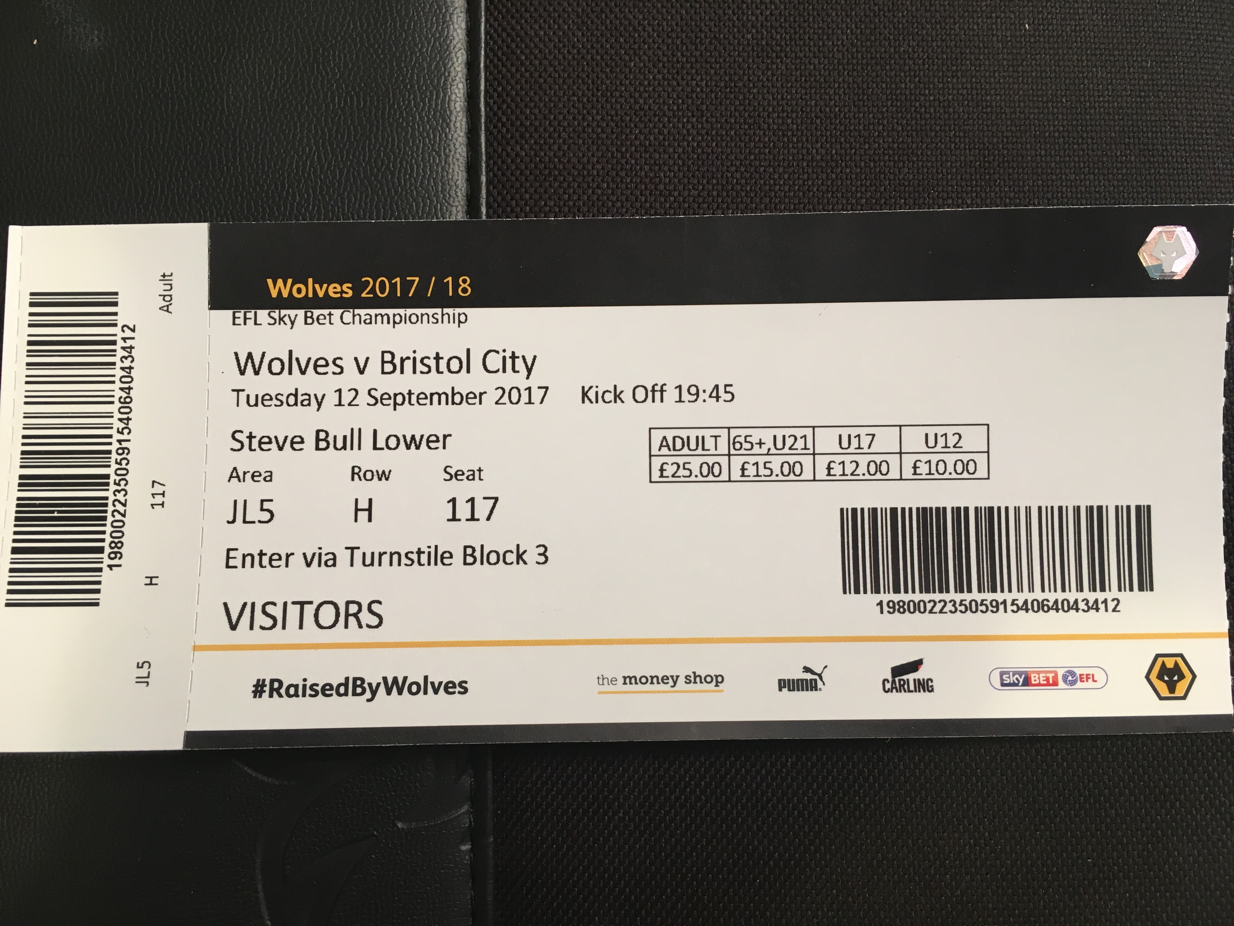 Wolves v Bristol City 12-09-17 Ticket