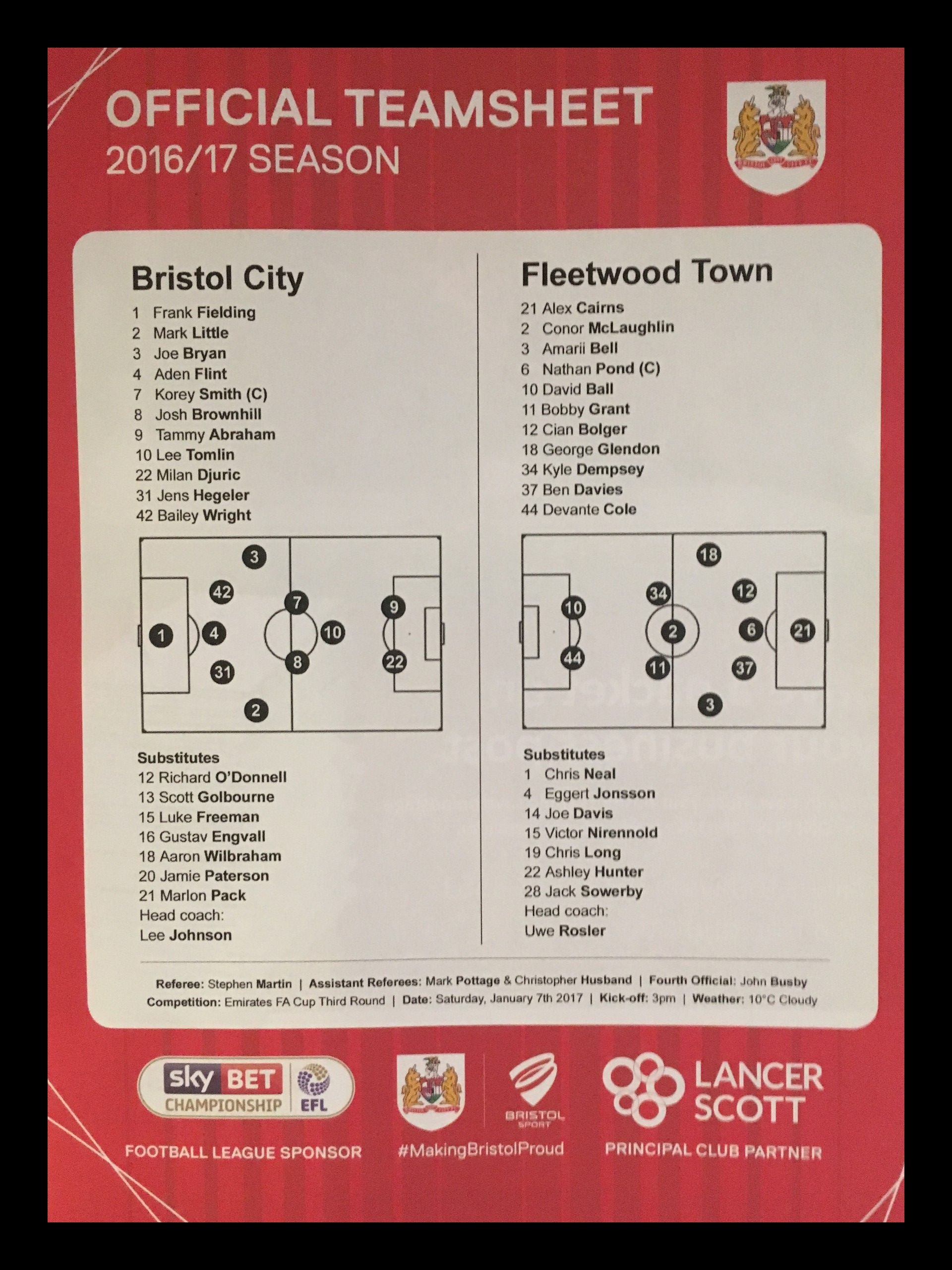 Bristol City v Fleetwood Town 07-01-2017 Team Sheet