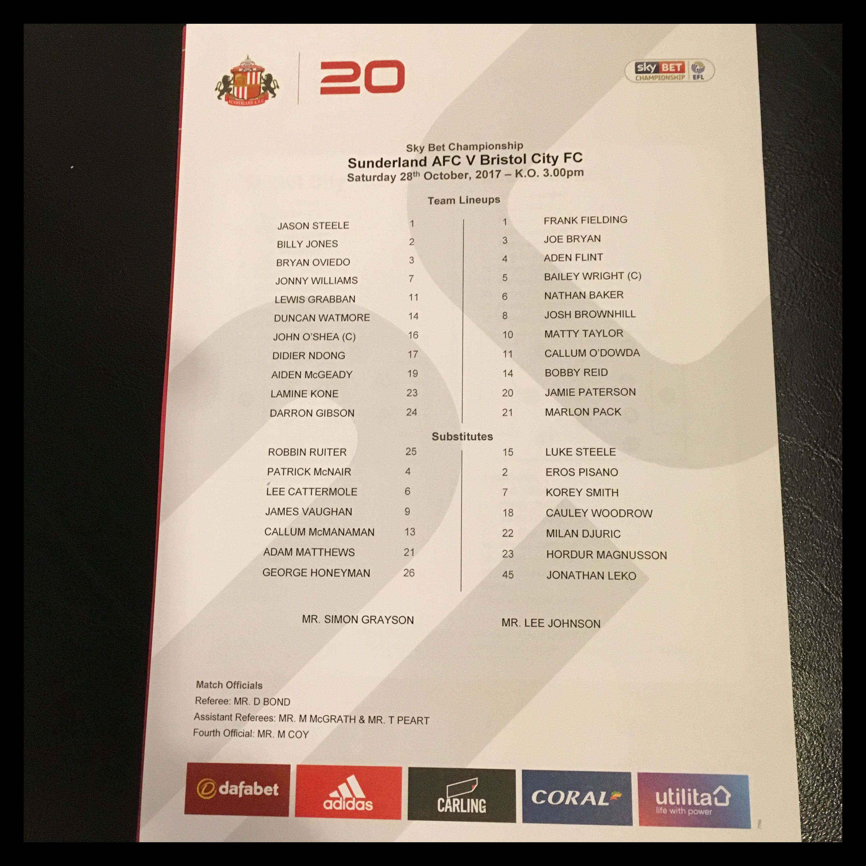 Sunderland v Bristol City 28-10-17 Team Sheet