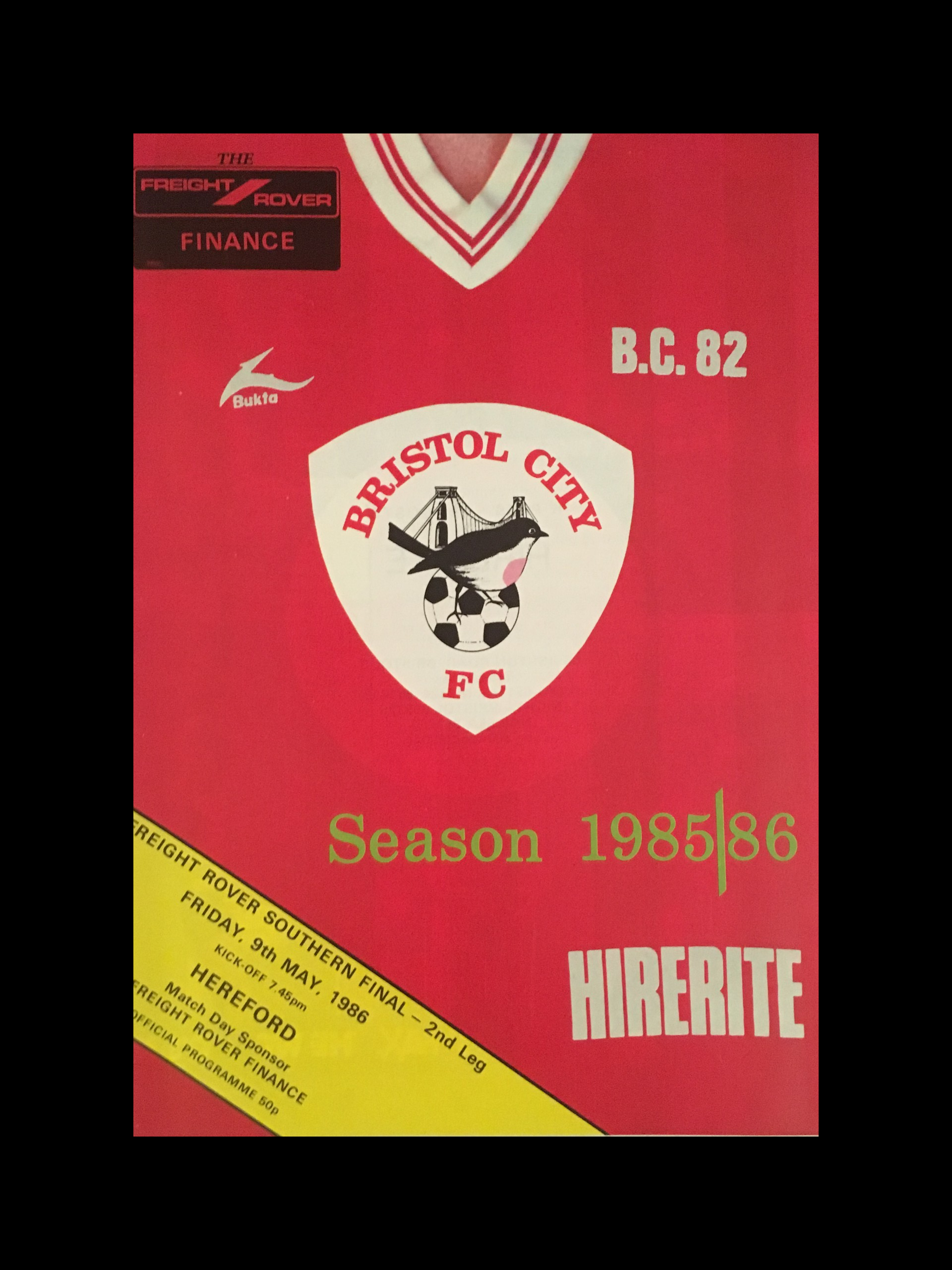 Bristol City v Hereford United 09-05-86 Programme