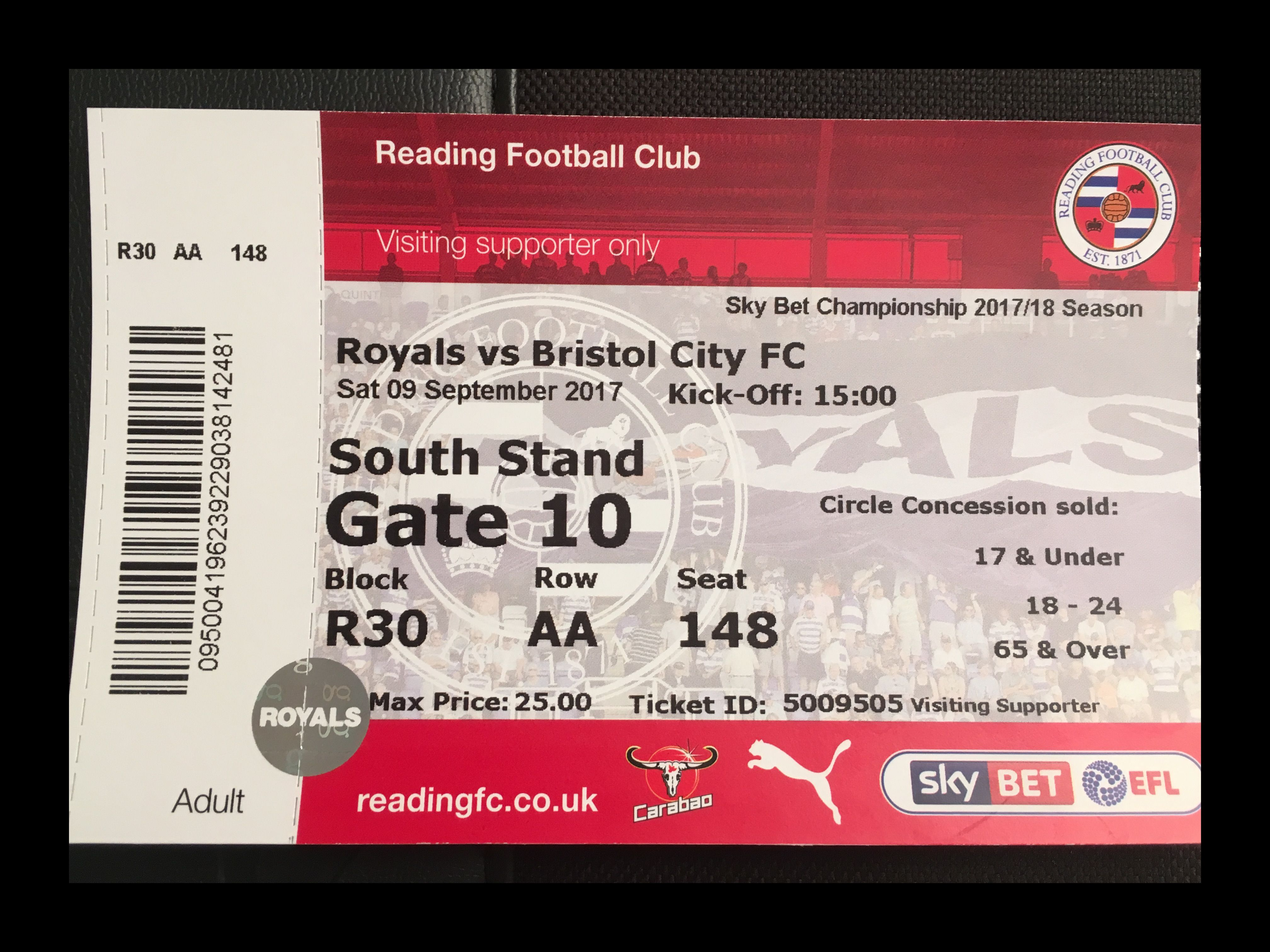 Reading v Bristol City 09-09-17 Ticket