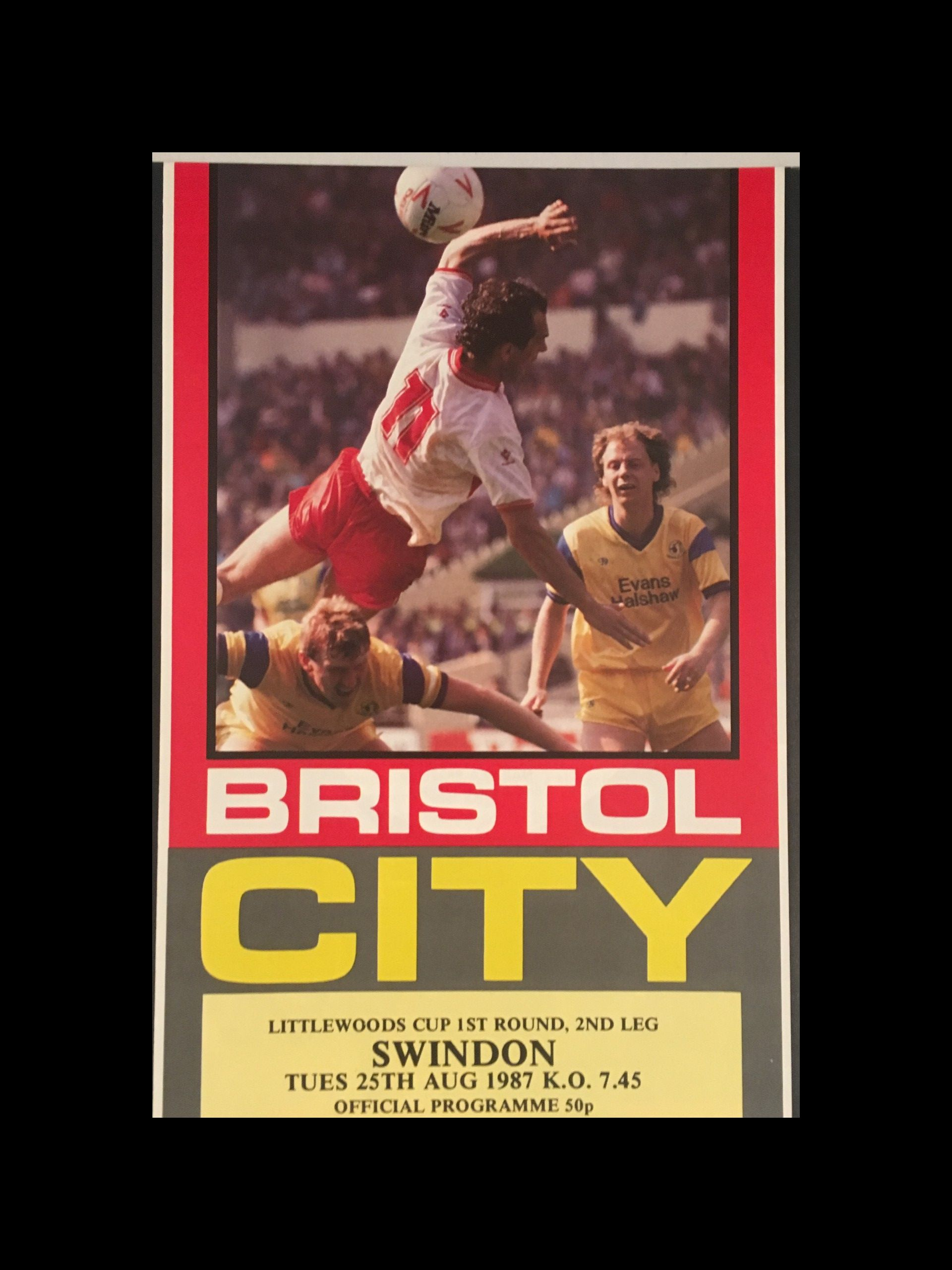 Bristol City v Swindon Town 25-08-1987 Programme