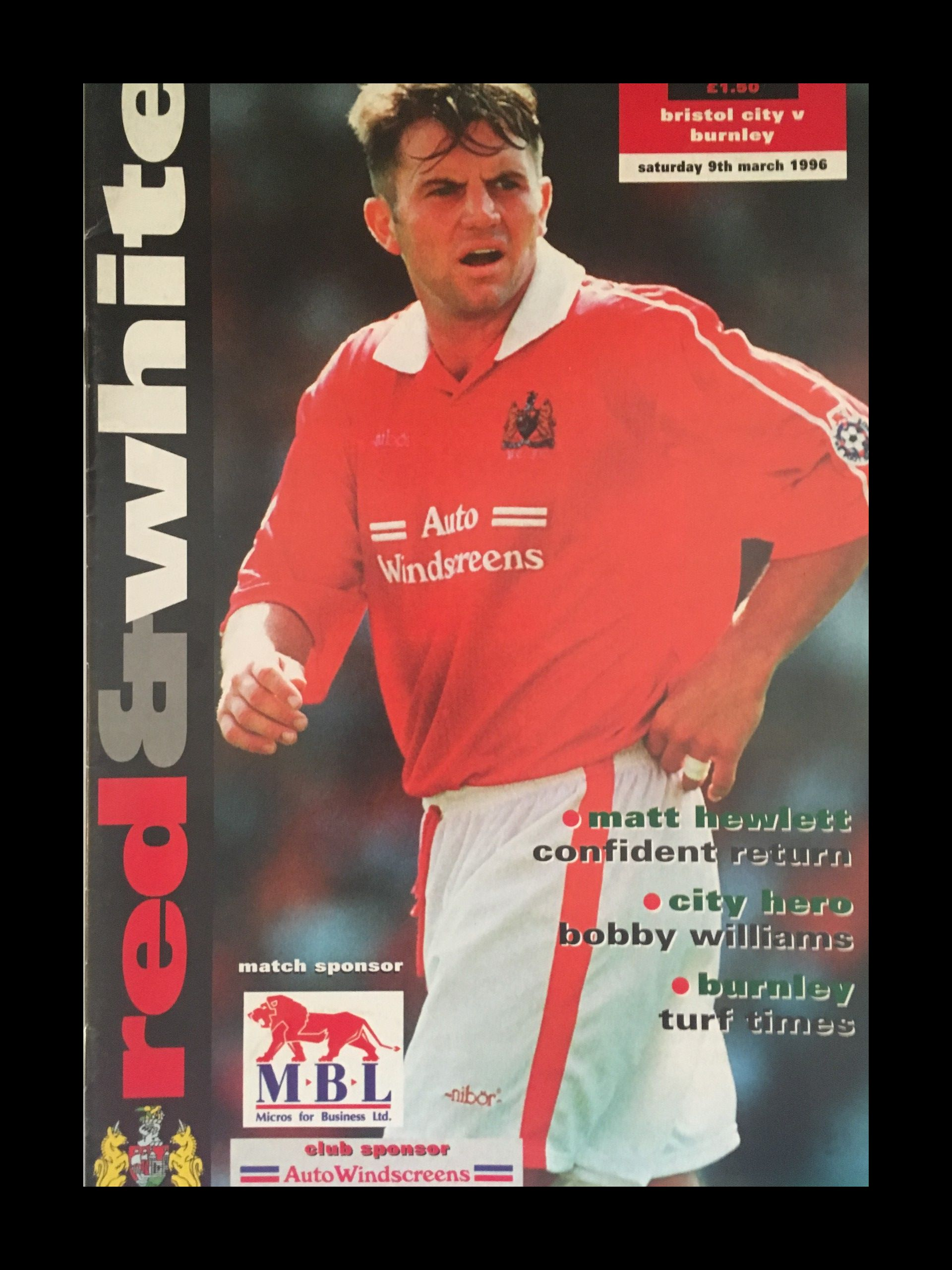 Bristol City v Burnley 09-03-1996 Programme