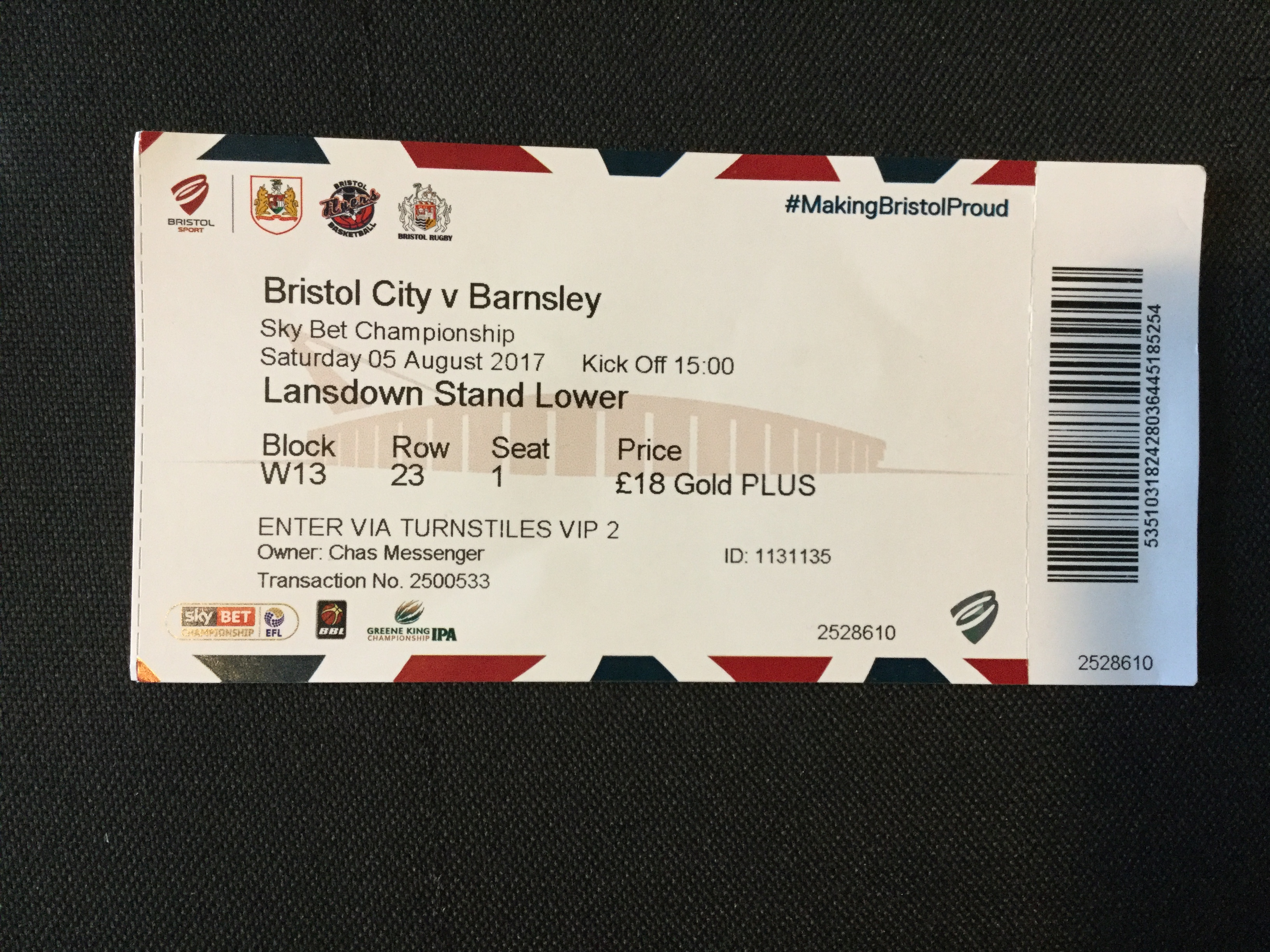 Bristol City v Barnsley 05-08-17 Ticket