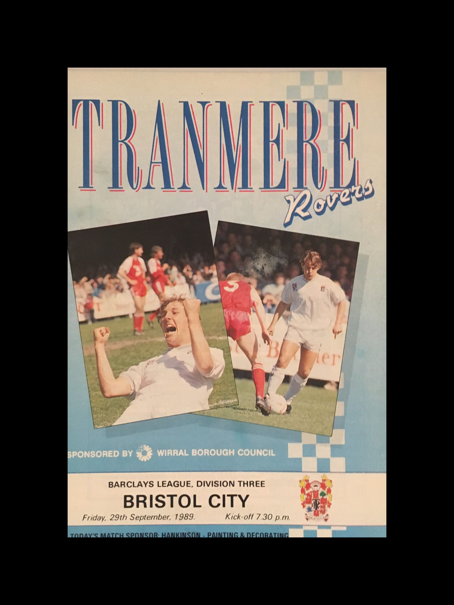 Tranmere Rovers v Bristol City 29-09-1989 Programme