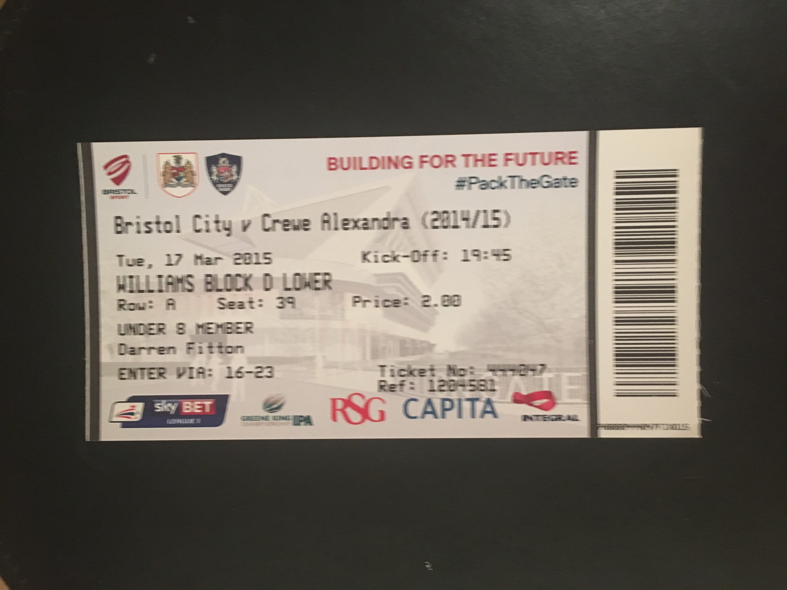 Bristol City v Crewe Alexandra 17-03-2015 Ticket