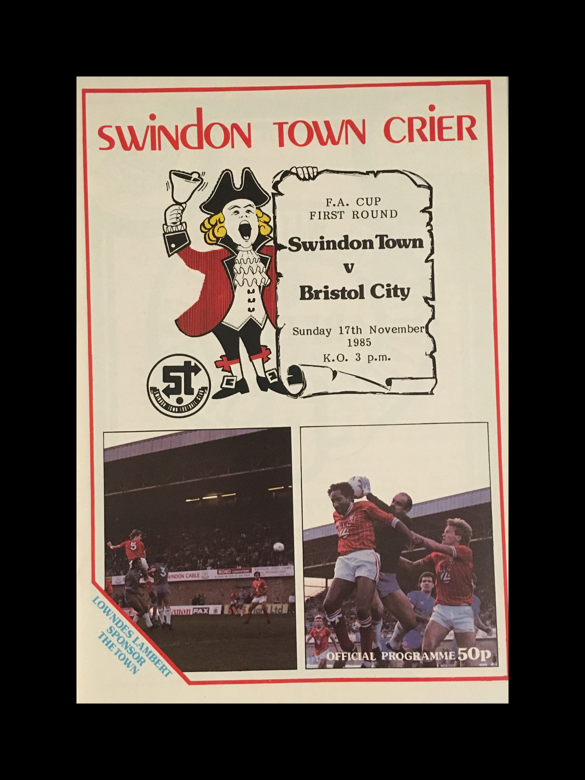 Swindon Town v Bristol City 17-11-85 Programme