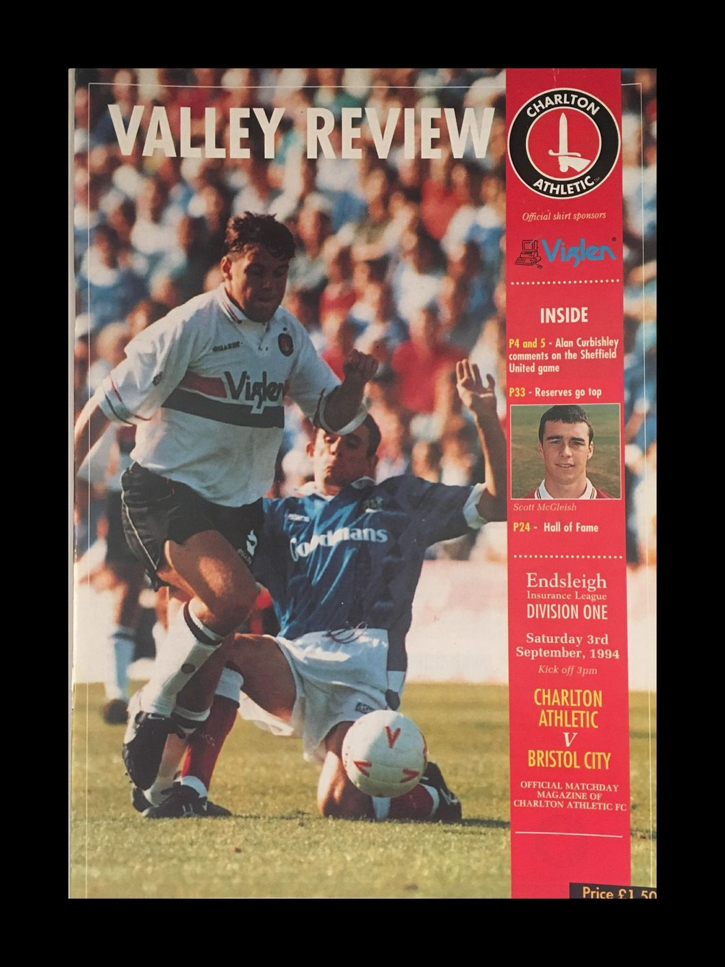 Charlton Athletic v Bristol City 03-09-1994 Programme