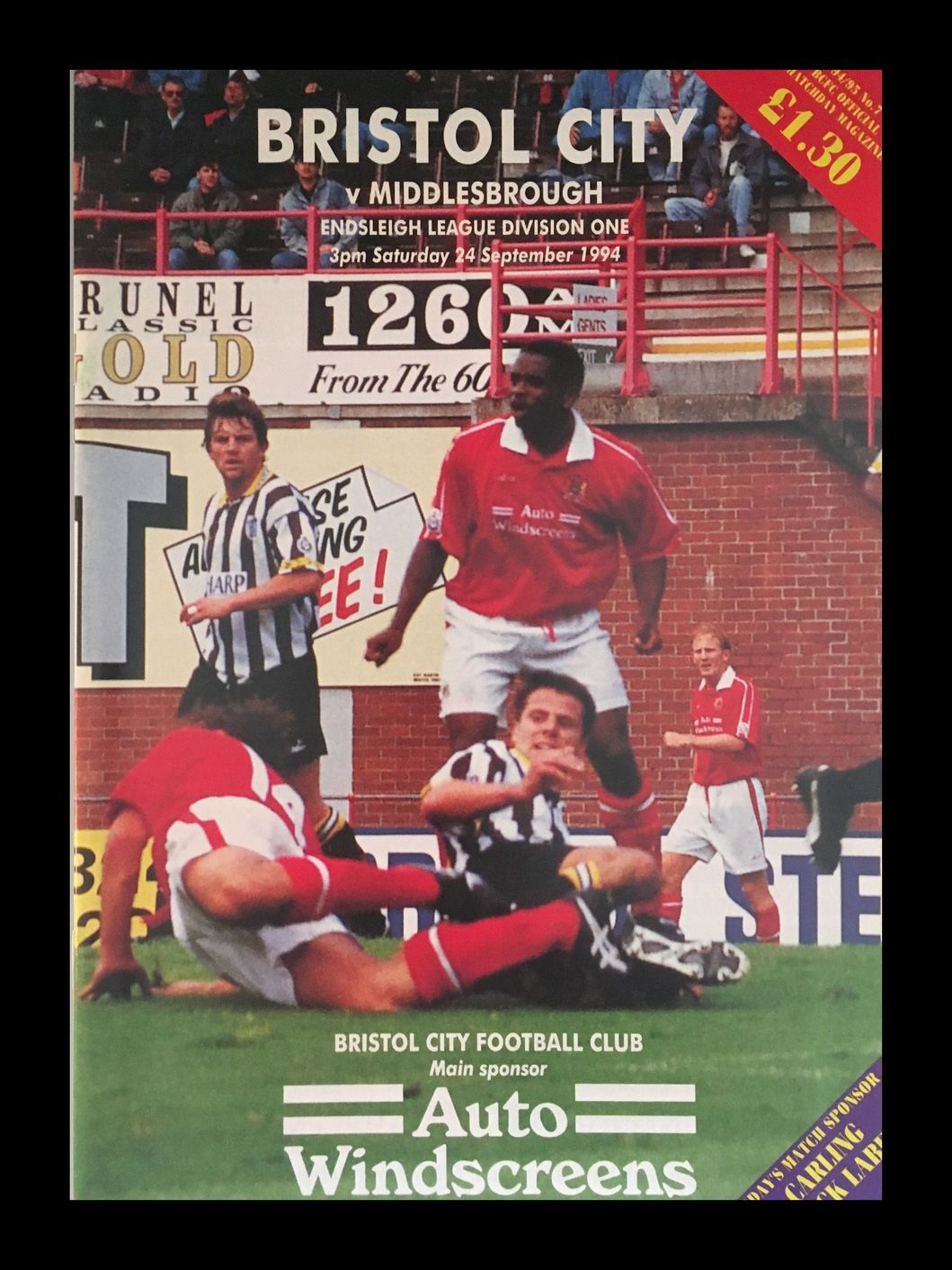 Bristol City v Middlesbrough 24-09-1994 Programme