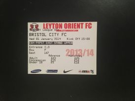 Leyton Orient v Bristol City 01-01-2014 Ticket